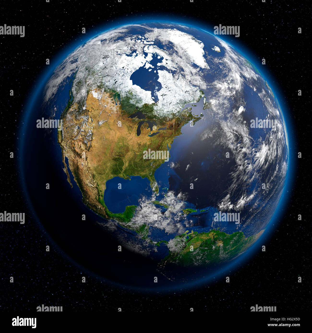Earth viewed from space showing North America. Realistic digital illustration including relief map hill shading - Stock Image