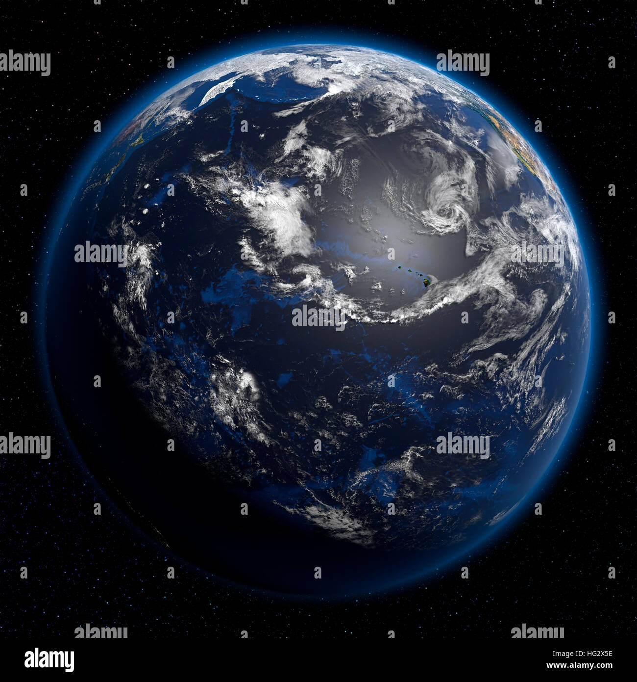 Earth viewed from space showing the Pacific Ocean. Realistic digital illustration including relief map hill shading - Stock Image