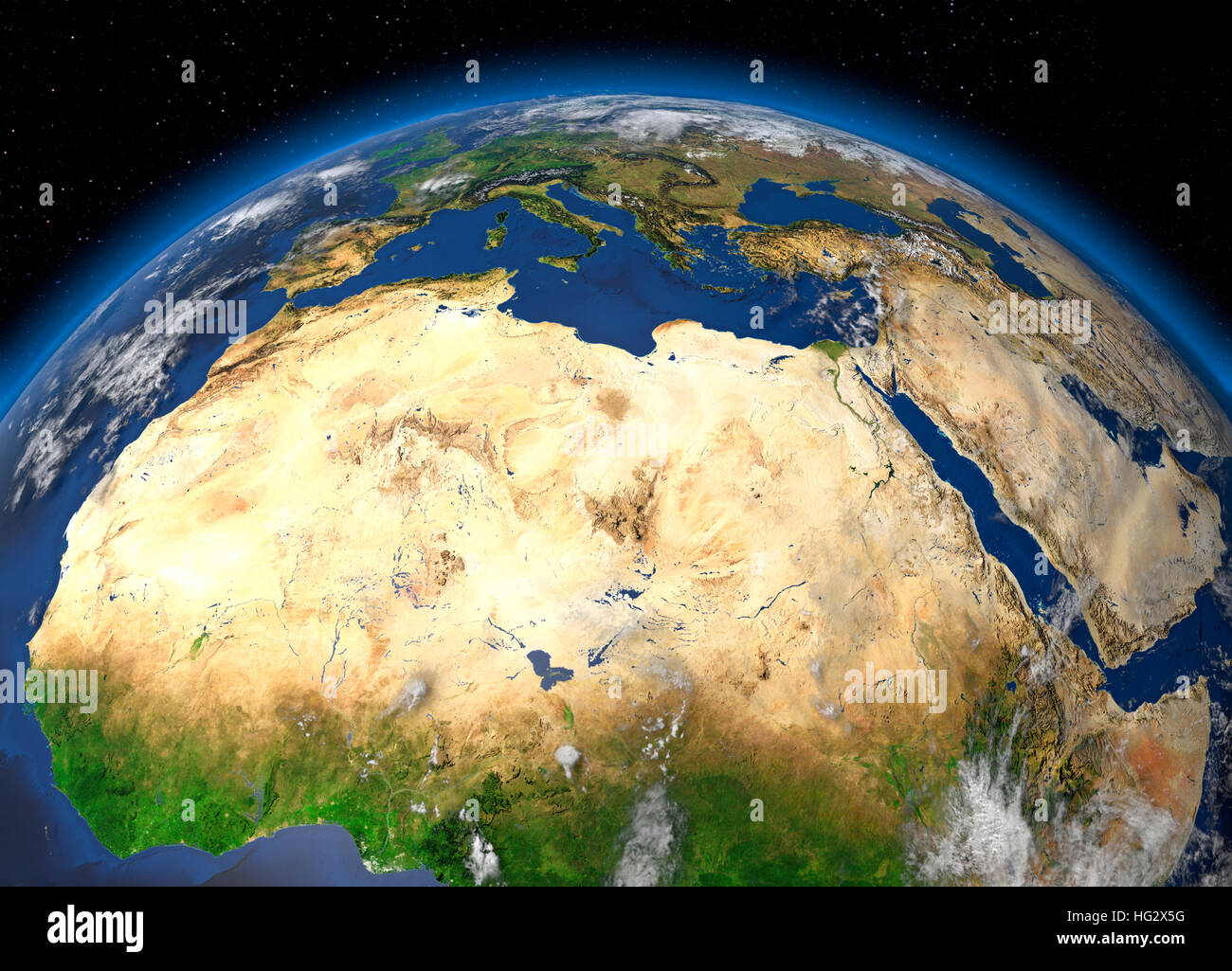 Earth viewed from space showing the Sahara Desert and North Africa. Realistic digital illustration including relief - Stock Image