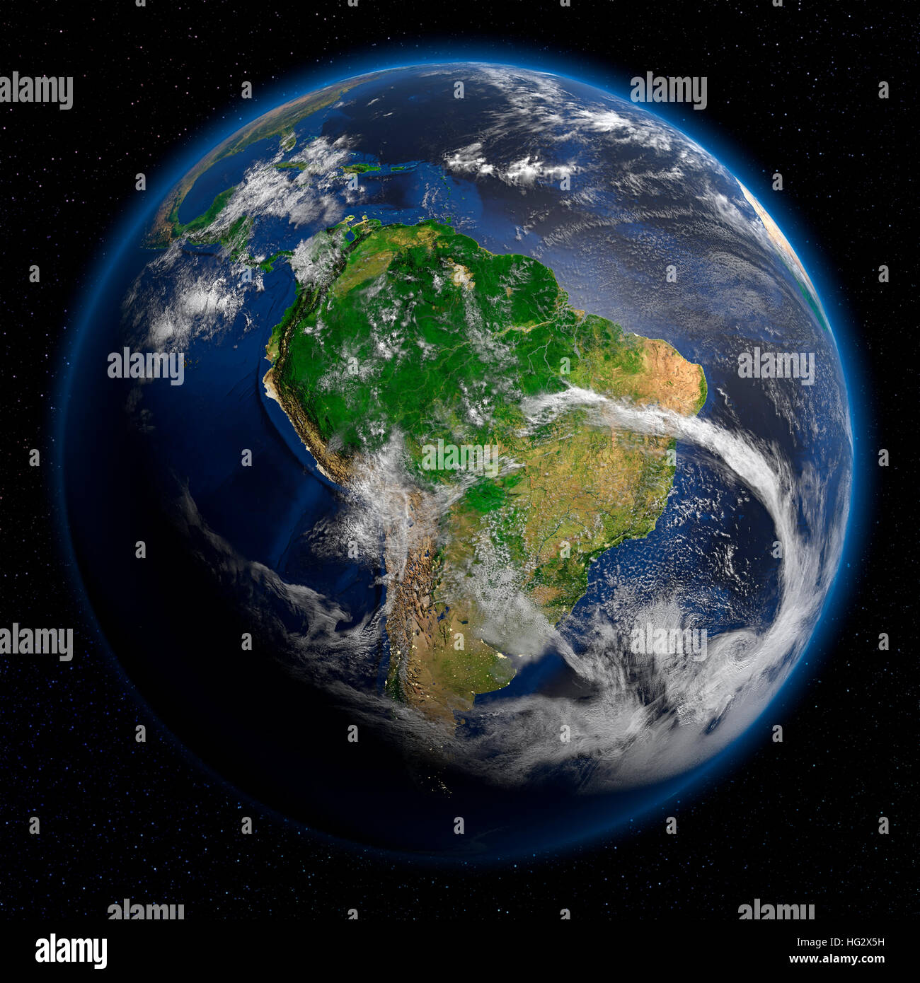 Earth viewed from space showing South America. Realistic digital illustration including relief map hill shading - Stock Image