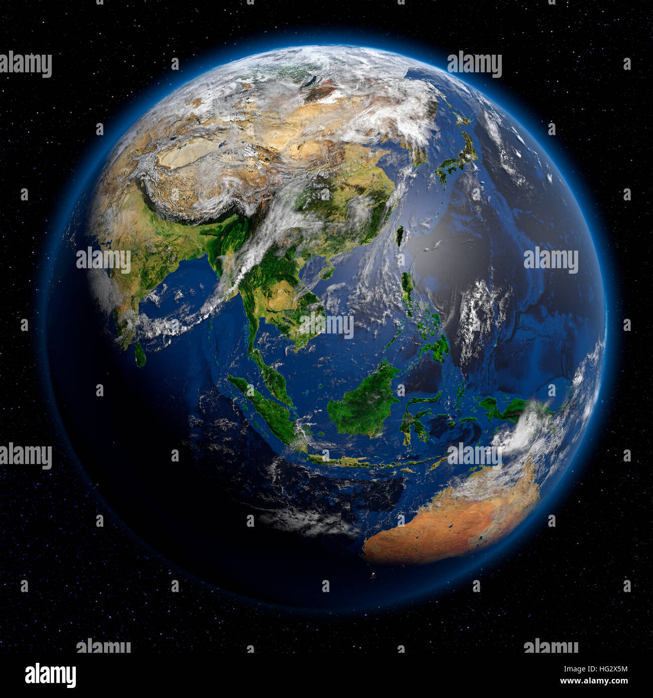 Earth viewed from space showing South East Asia. Realistic digital illustration including relief map hill shading - Stock Image