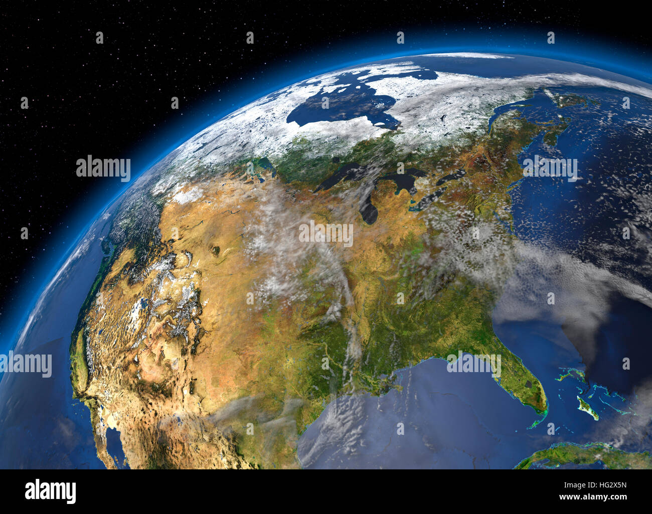 Earth viewed from space showing the United States. Realistic digital illustration including relief map hill shading - Stock Image