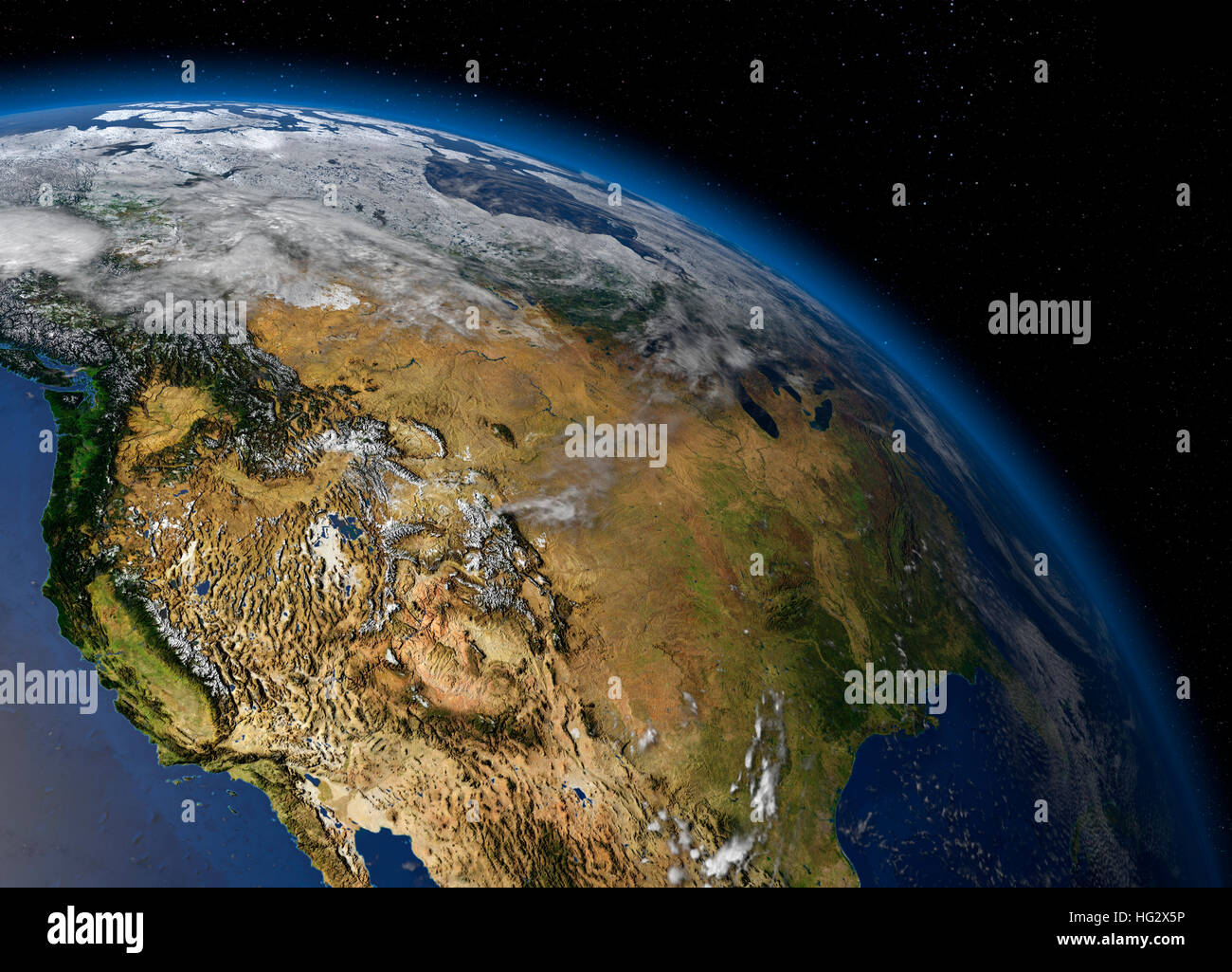 earth viewed from e showing the west coast of the united states realistic digital ilration including relief map hill shading of terrain plea