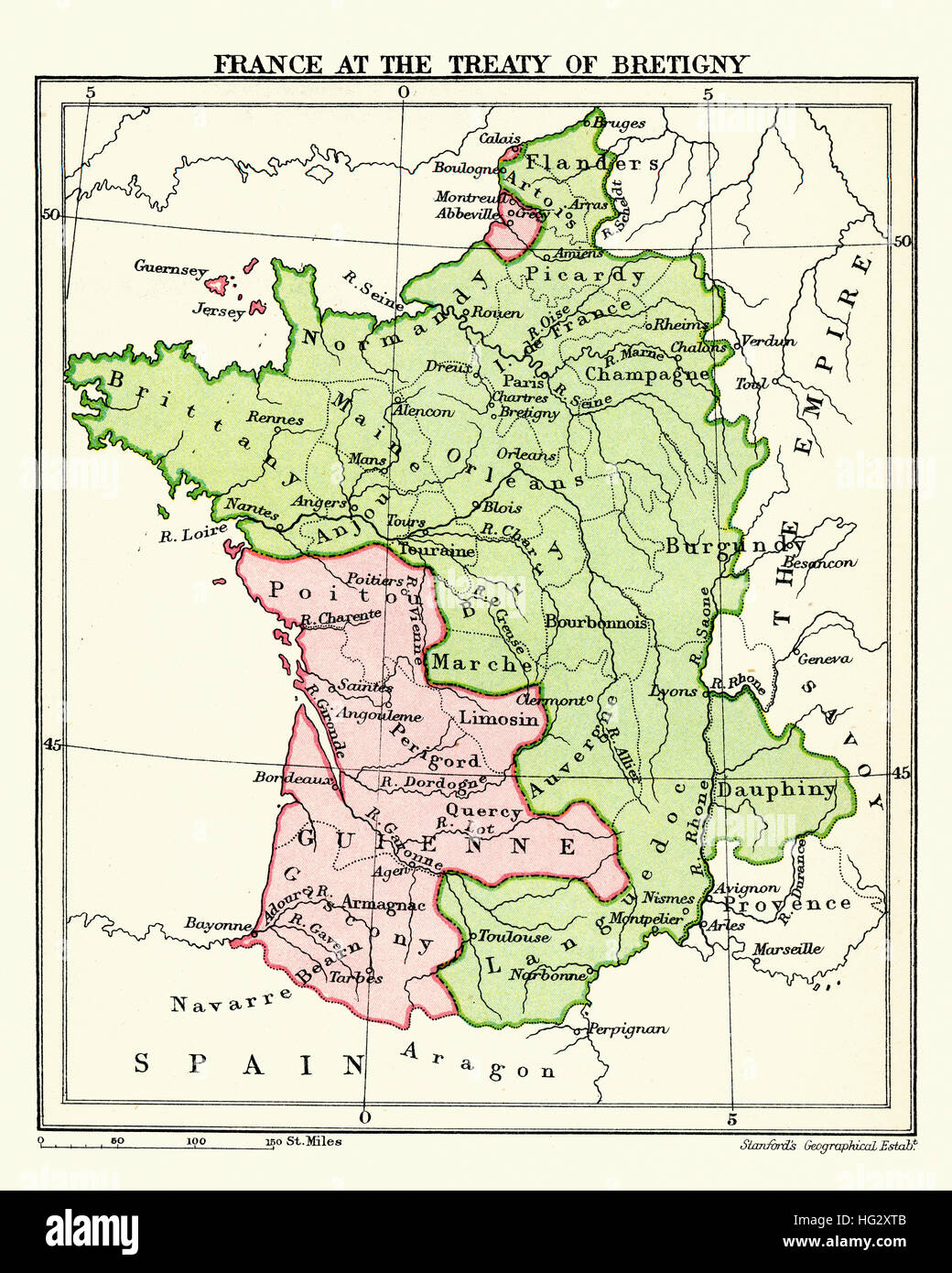 Map of France at the Treaty of Bretigny. Ratified on 24 October 1360, between King Edward III of England and King Stock Photo