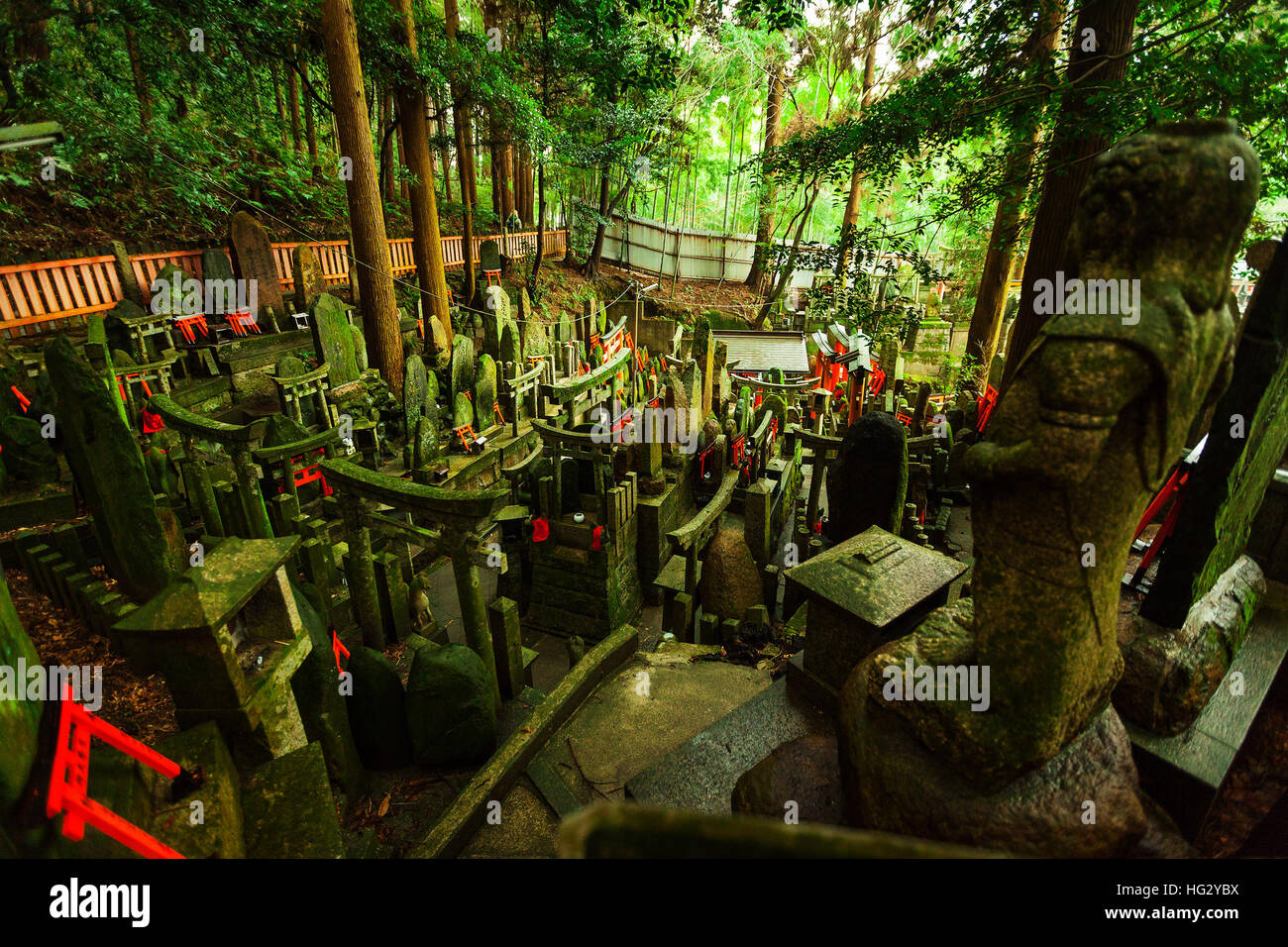 Old moss covered shrine in the middle of a Japanese Forest in Fushimi Inari-taisha, Kyoto, Japan - Stock Image