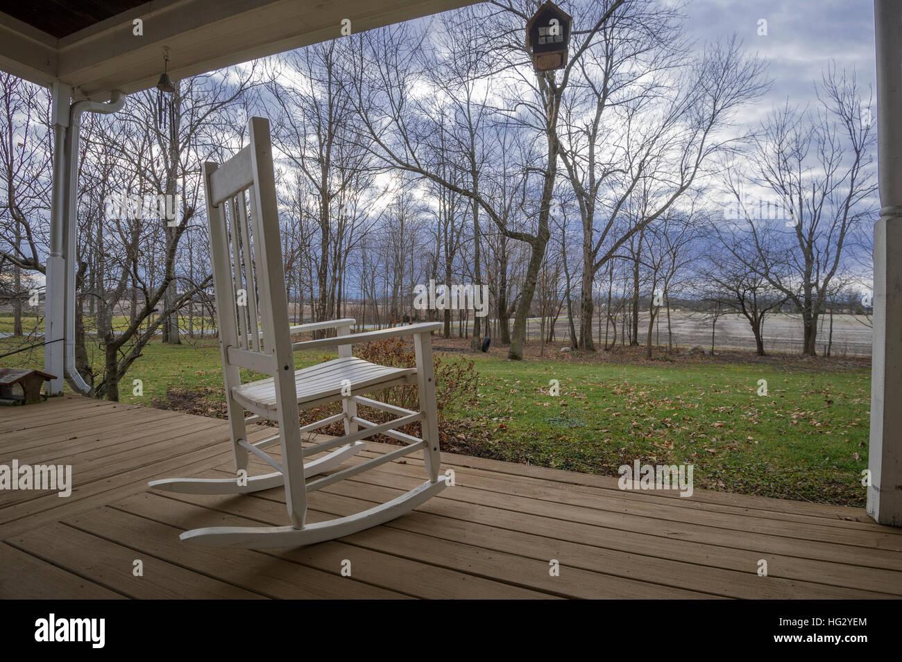 Amazing White Rocking Chair On Country Porch Stock Photo 130372556 Inzonedesignstudio Interior Chair Design Inzonedesignstudiocom