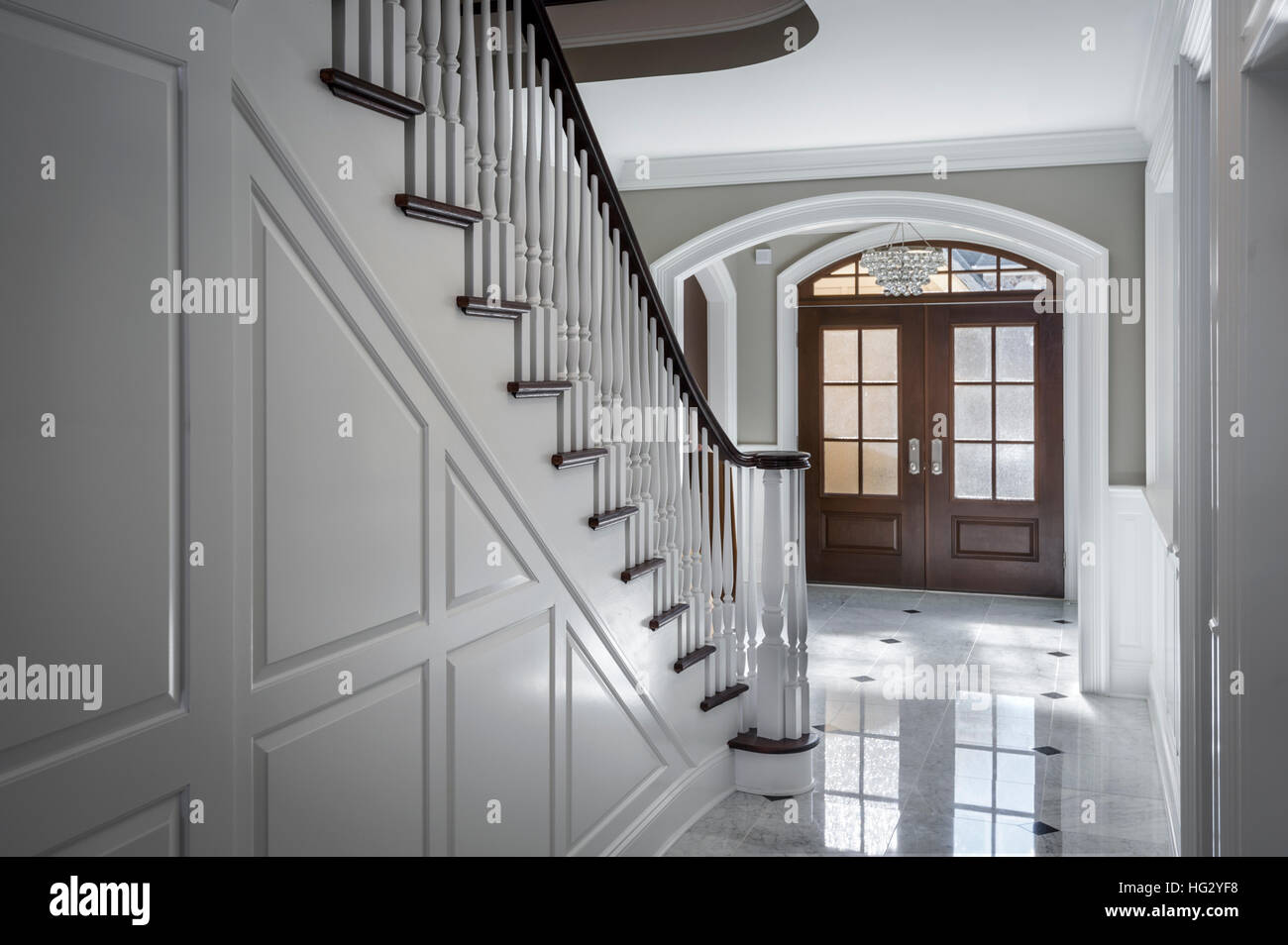 Front Foyer Staircase : White foyer interior staircase front door luxurious house