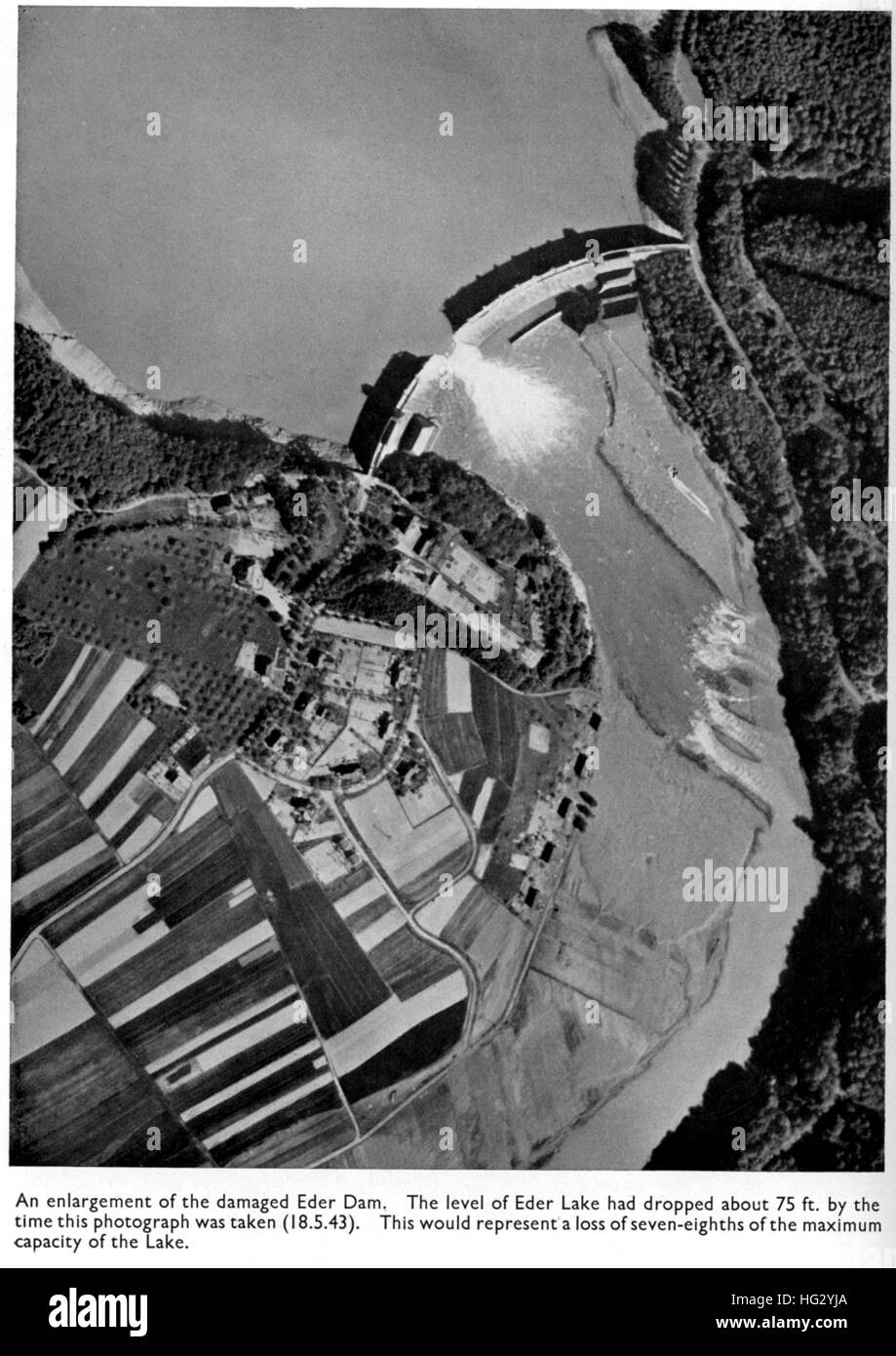 DAMS RAIDS - OPERATION CHASTISE Photo reconnaissance of the Eder Dam on 18 May 1943 following the raid by 617 Squadron - Stock Image
