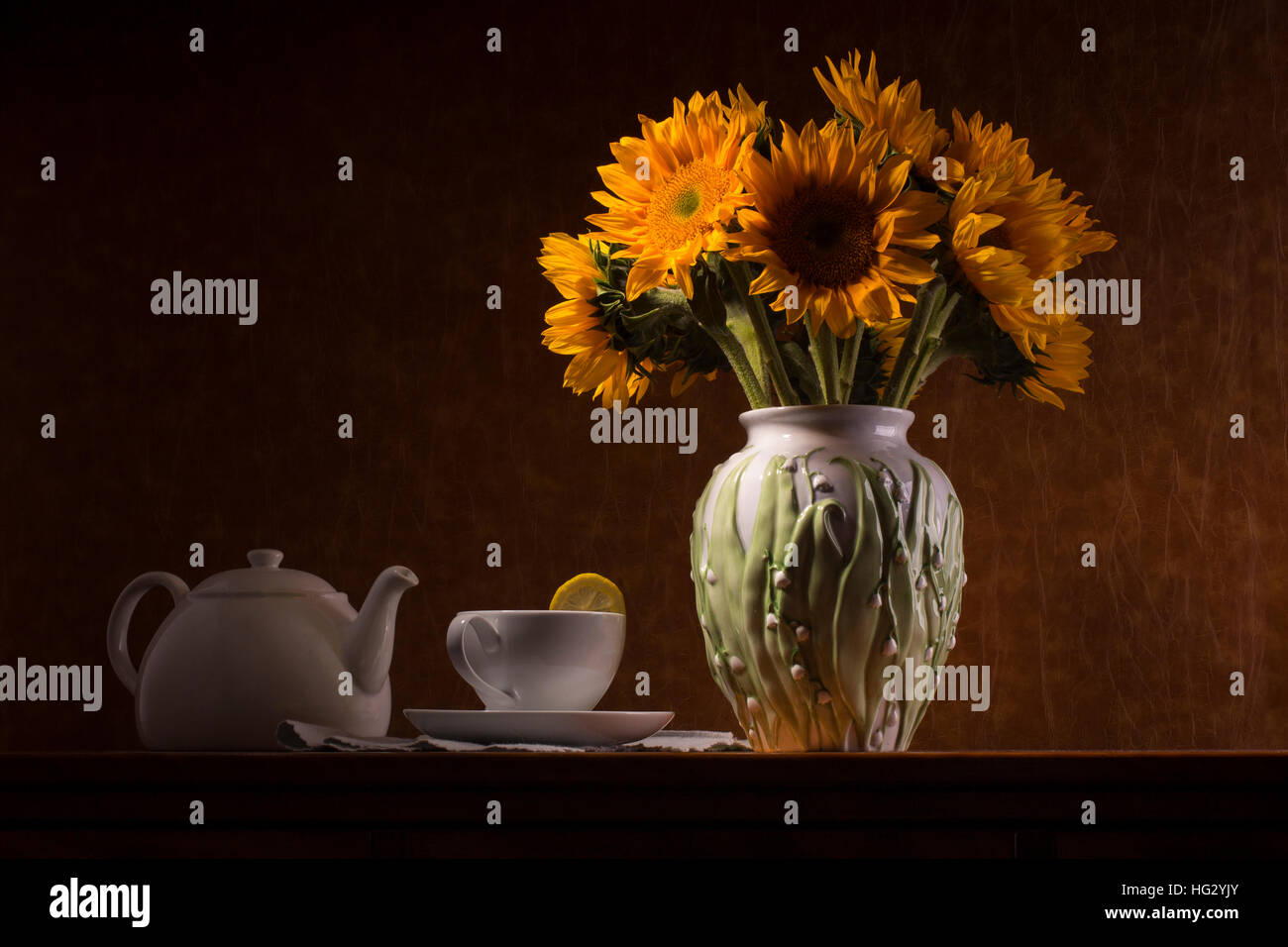 Still Life With Sunflowers Teacup And Teapot
