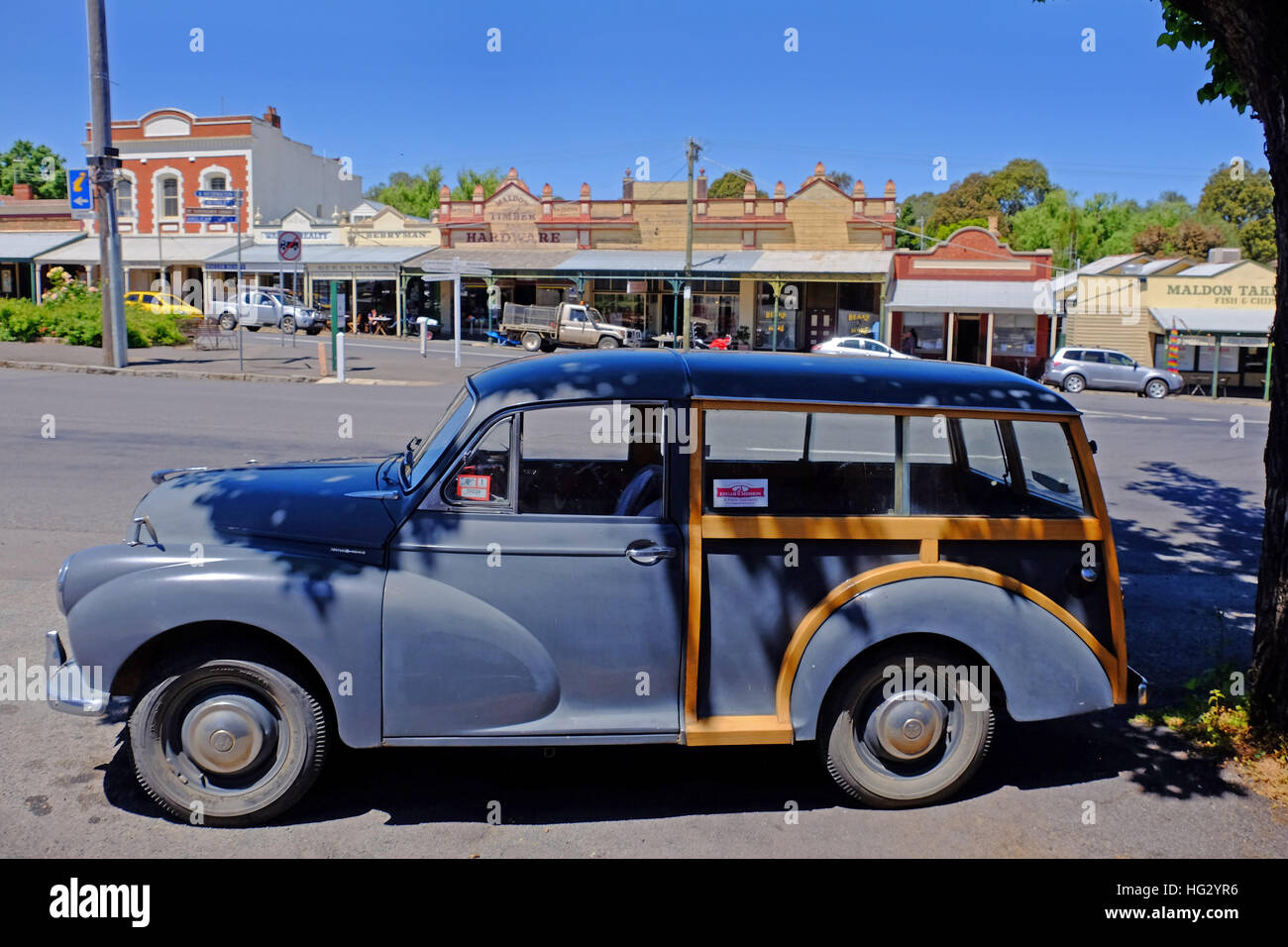 A Morris Traveller car in Maldon, a historic town in Victoria's Goldfields region, Australia - Stock Image