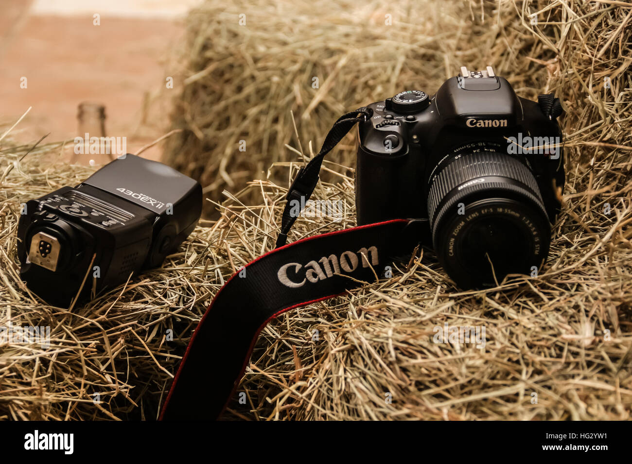 A dslr camera with a flash over a heap of hay Stock Photo