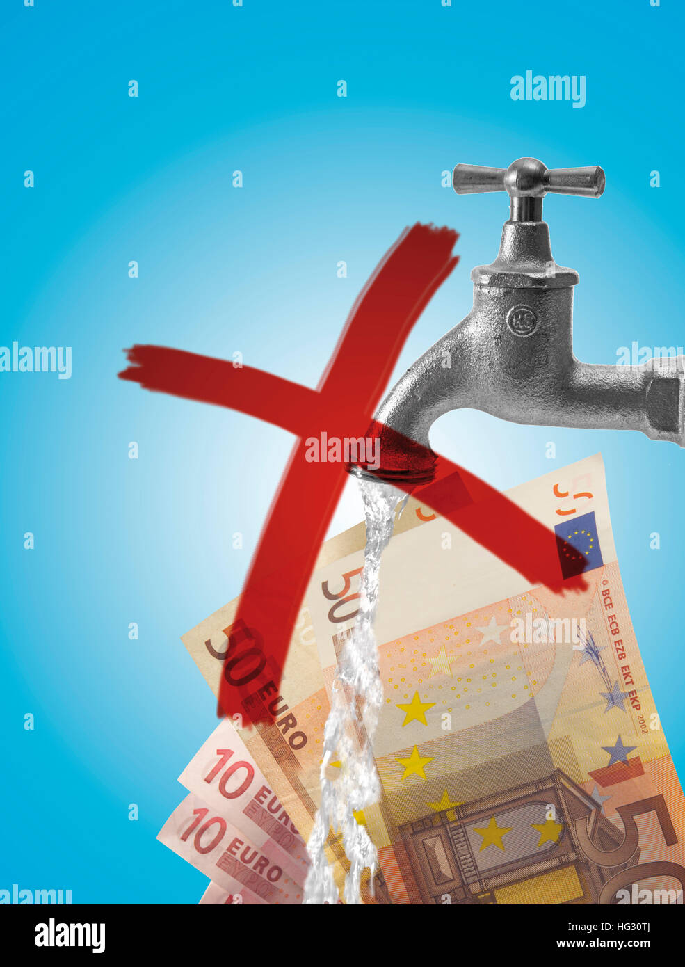 Crossed-out water tap (faucet) and Euro bills (composing shot): symbol for rising water prices - Stock Image