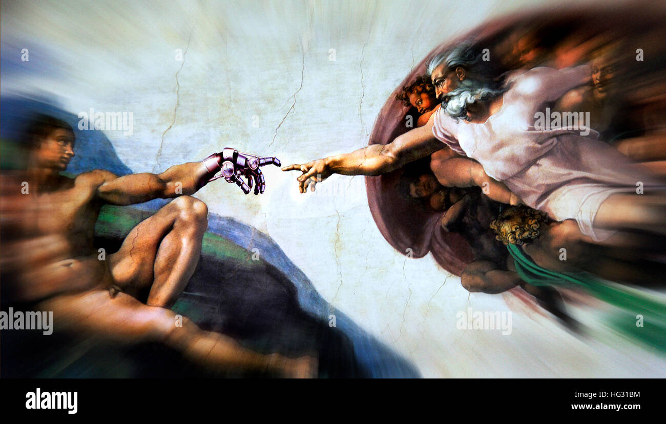 The Creation of Adam, Michelangelo, composed with robot hand - Stock Image