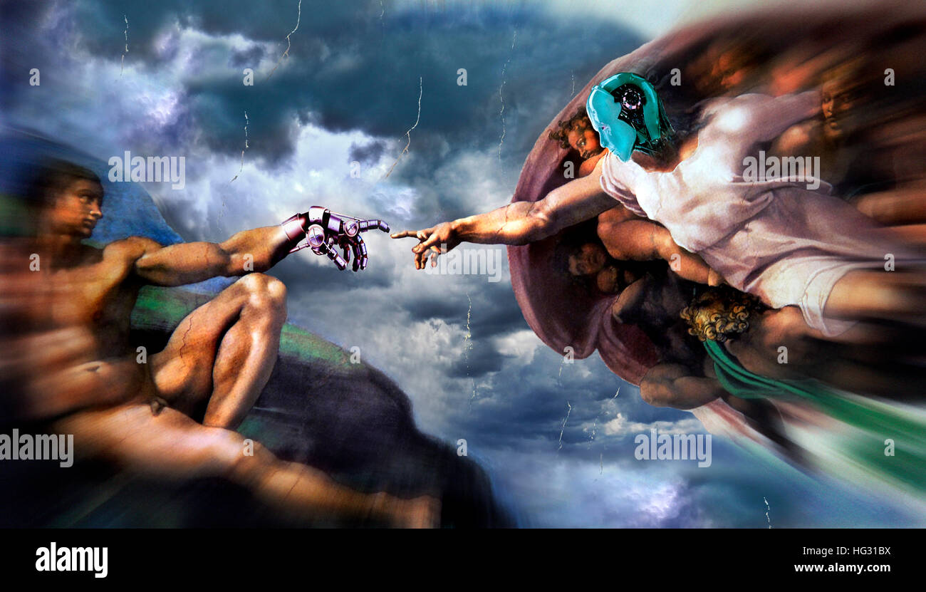 The Creation of Adam, Michelangelo, composed with robot hand and head - Stock Image