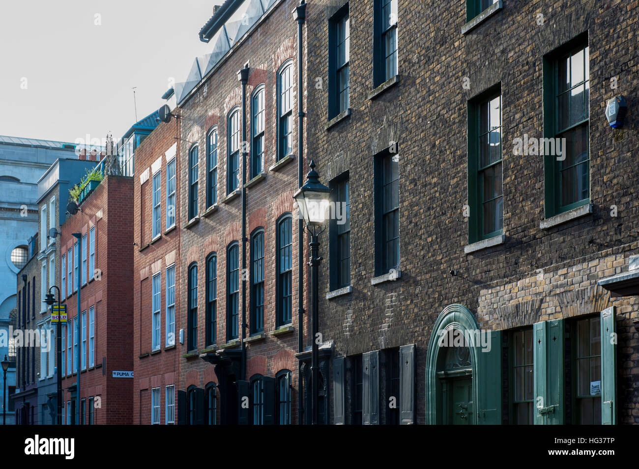 A row of houses in East London near Shoreditch Stock Photo