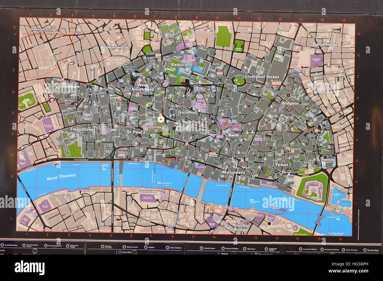 Information map showing way along the River Thames Stock Photo