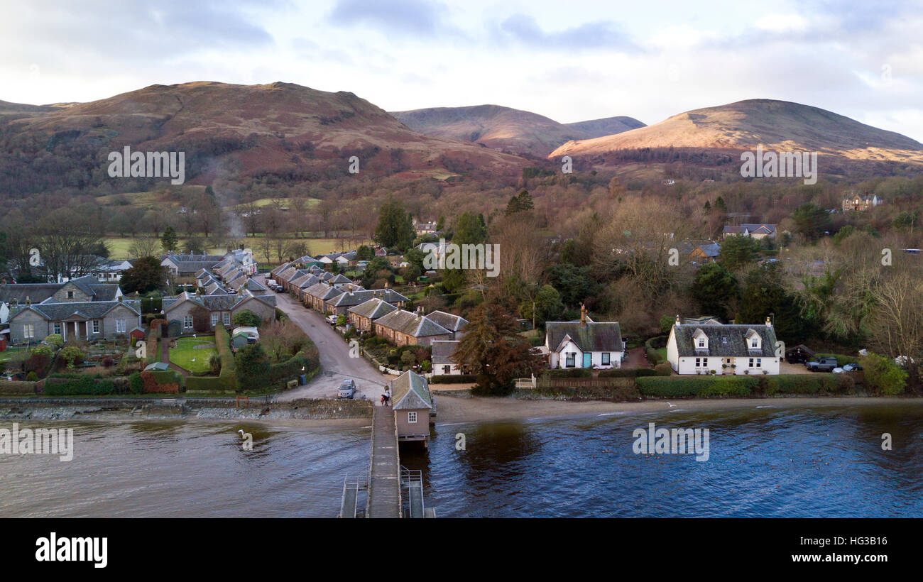 The village of Luss on the banks of Loch Lomond in Scotland, UK. - Stock Image