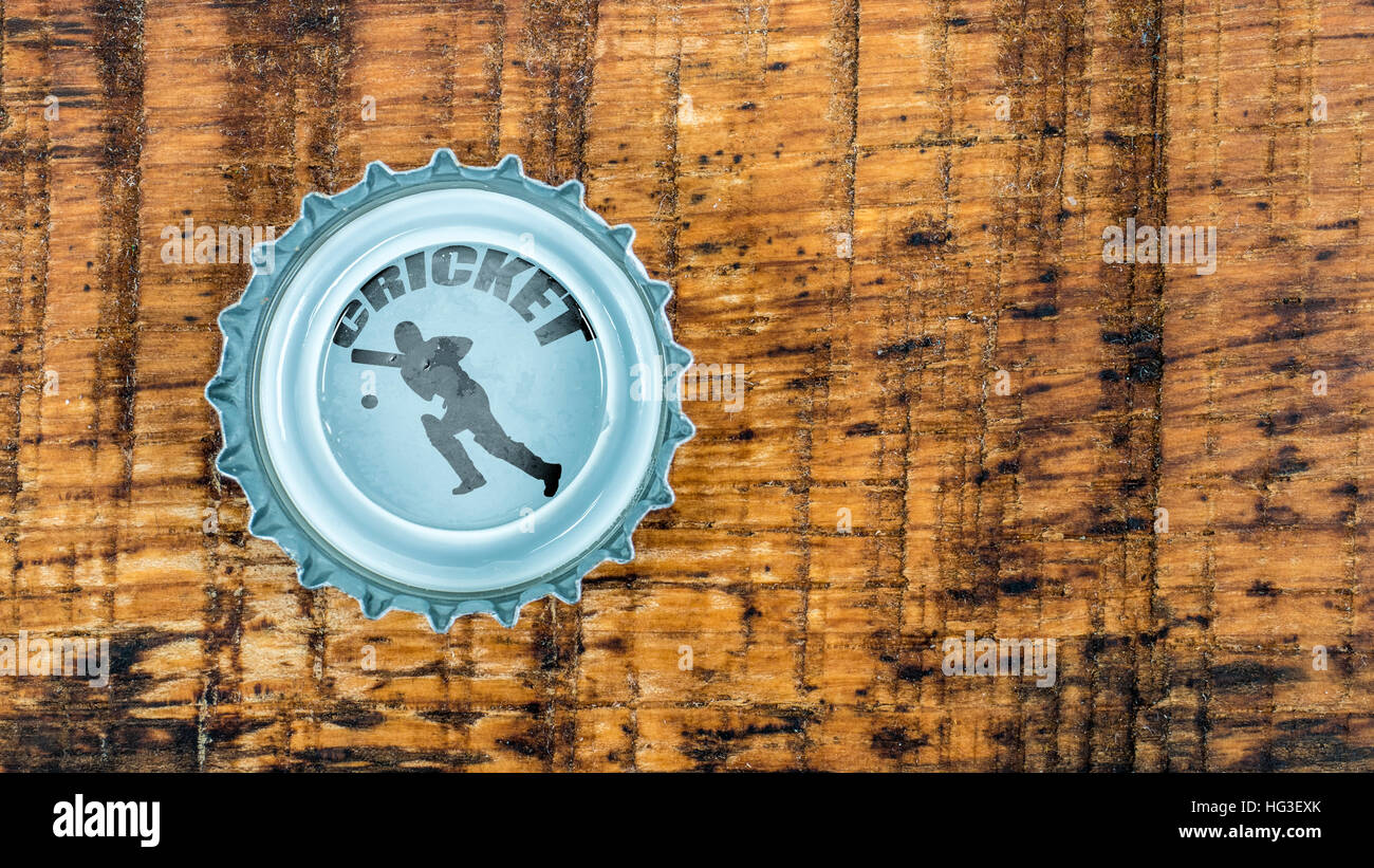 Cricket player in beer foam - Stock Image