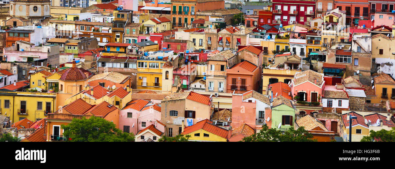 A view of the old quarter of Stampace in Cagliari, Sardinia, Italy. This part of the city dates back to the XI century. - Stock Image
