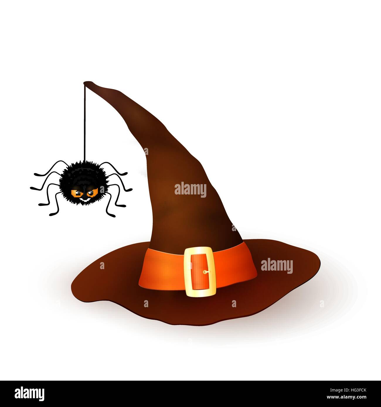 Cartoon Halloween 3d witch hat with hanging hairy black spider isolated on white background. Brown cap with an orange Stock Vector