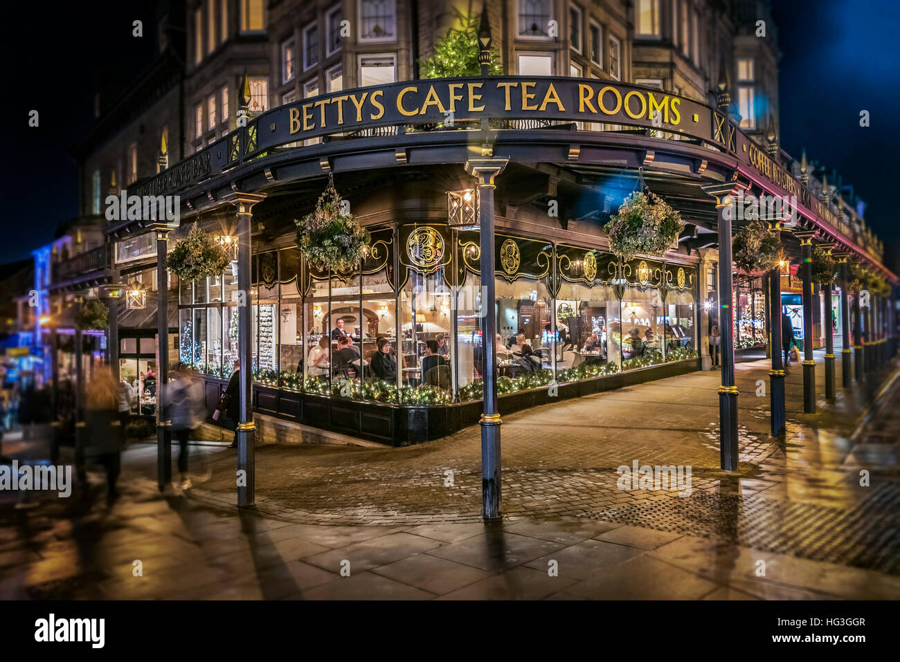 The Famous Betty's Tearooms in Harrogate North Yorkshire in the early evening with Christmas decorations. Stock Photo