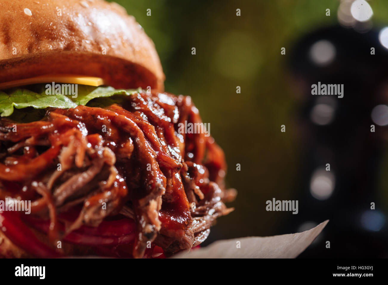 Close up of big burger - Stock Image