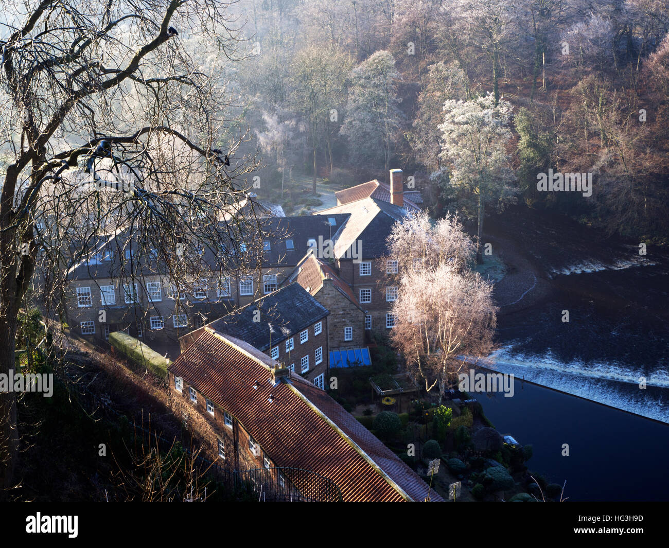 Castle Mills by the River Nidd in Winter Knaresborough North Yorkshire England - Stock Image