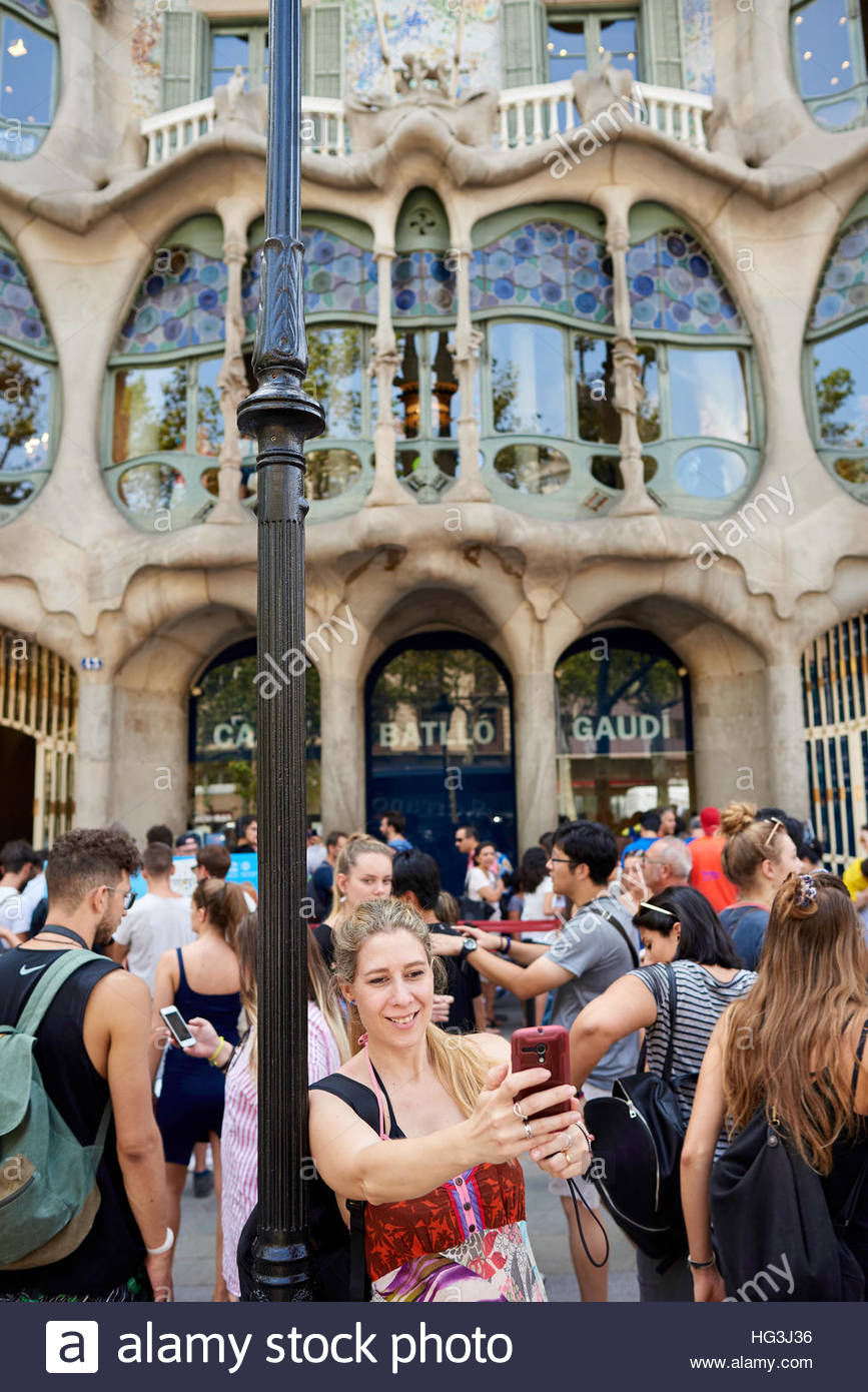 Casa Batllo designed by the designer and architect Antoni Gaudi in Barcelona in Catalunya in Spain in Europe - Stock Image