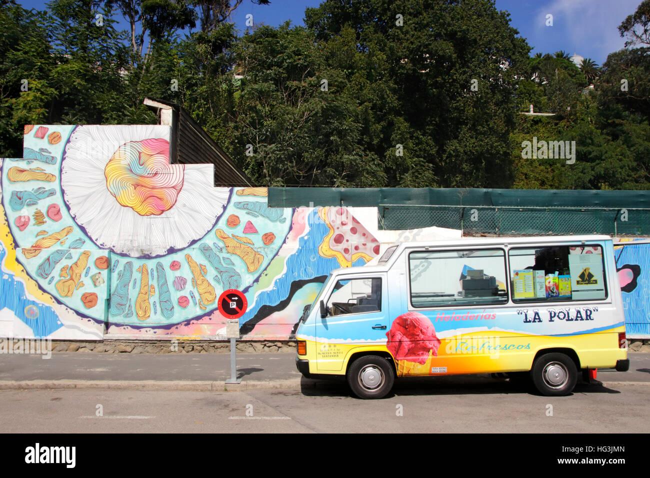 22b008fd78 Ice Cream Van and graffiti near the beach at Santander Spain Stock ...