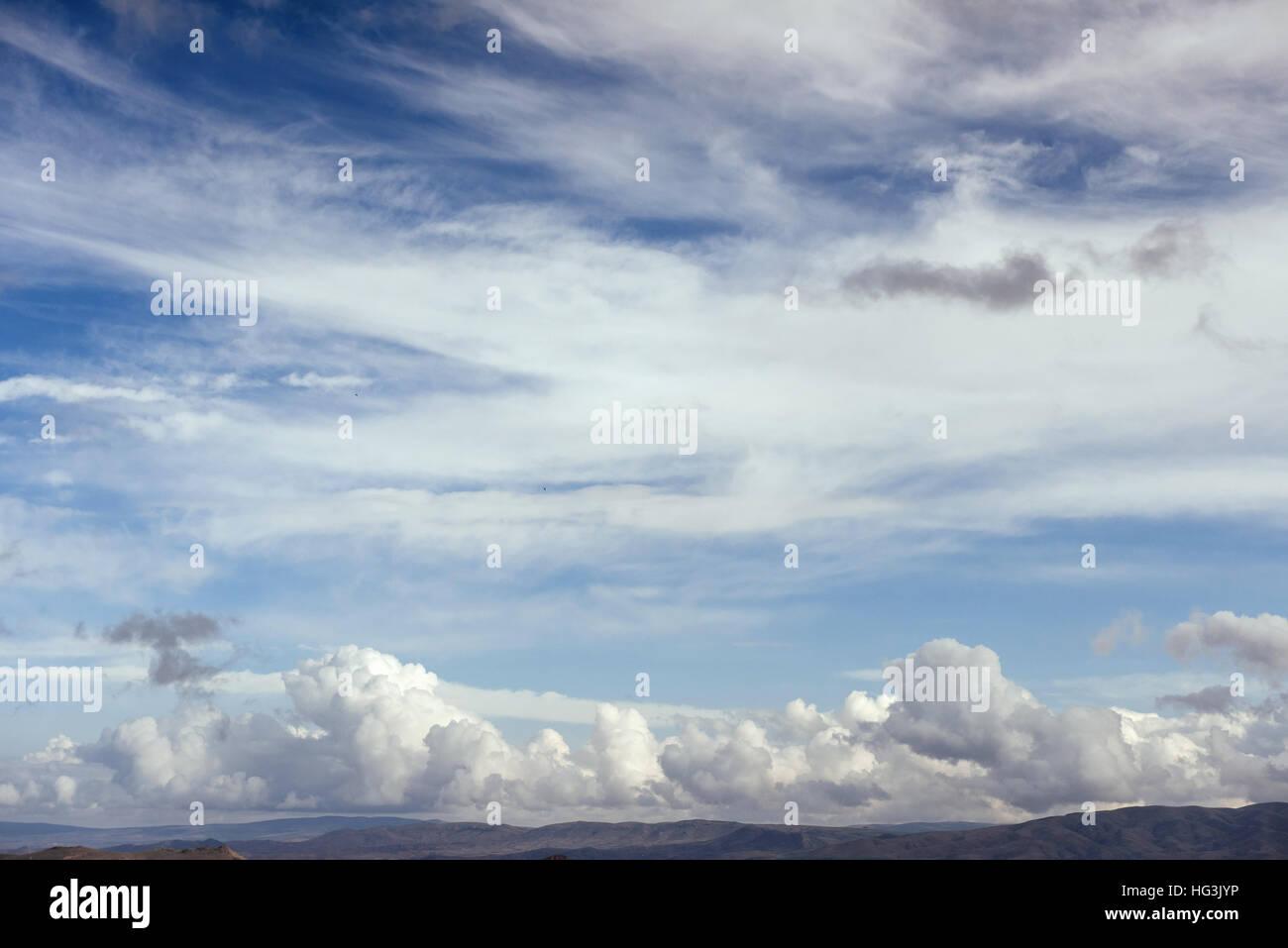 Many cumulonimbus cloud before raining with blue sky - Stock Image