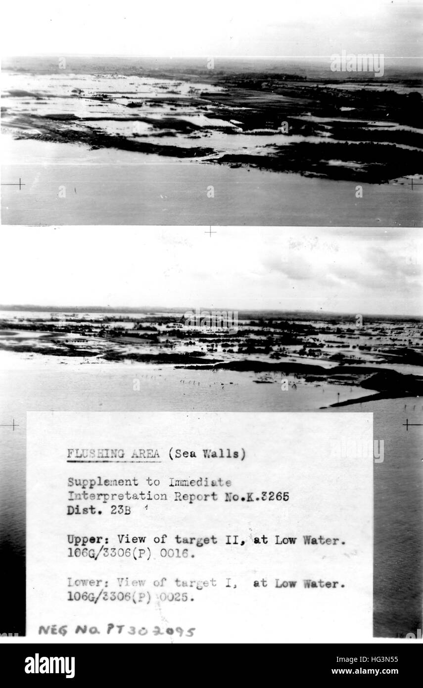 FLUSHING, Holland.    RAF reconnaissance photos  of the dykes about September 1944 as part of the planning for bombing - Stock Image