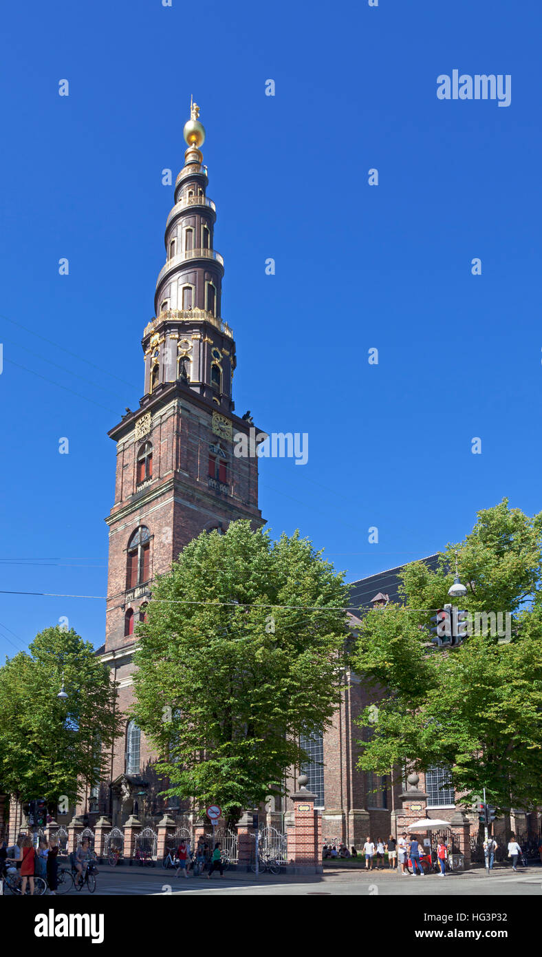 The Church of Our Saviour, Our Saviour's Church. Vor Frelsers Kirke, a baroque church in Christianshavn in Copenhagen - Stock Image