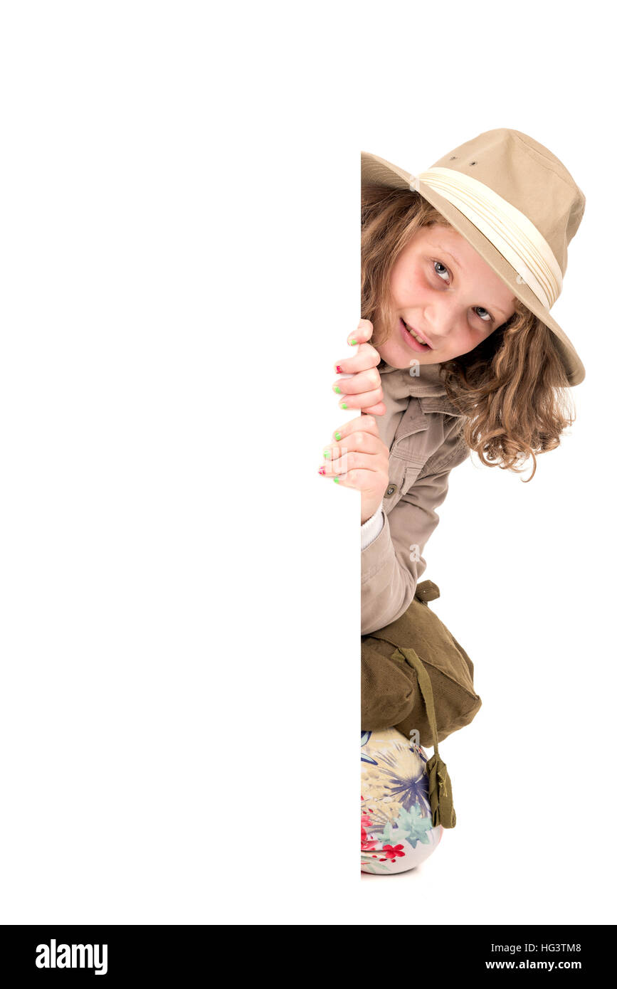 4b7dfa8e741b2 Young girl with Safari clothes isolated in white Stock Photo ...