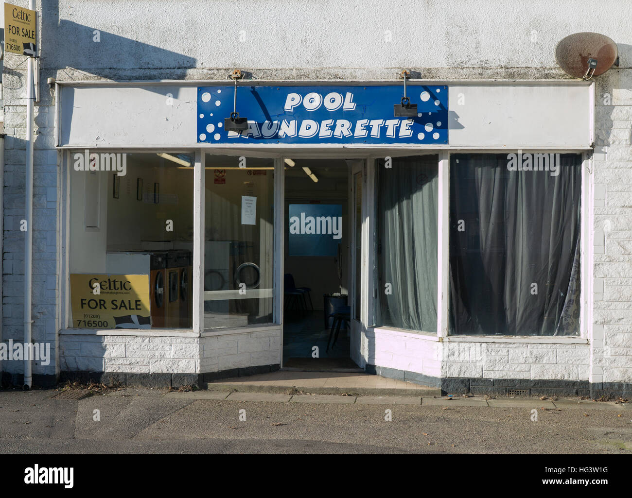 Pool Laundrette building for sale, Redruth Cornwall England UK.Stock Photo