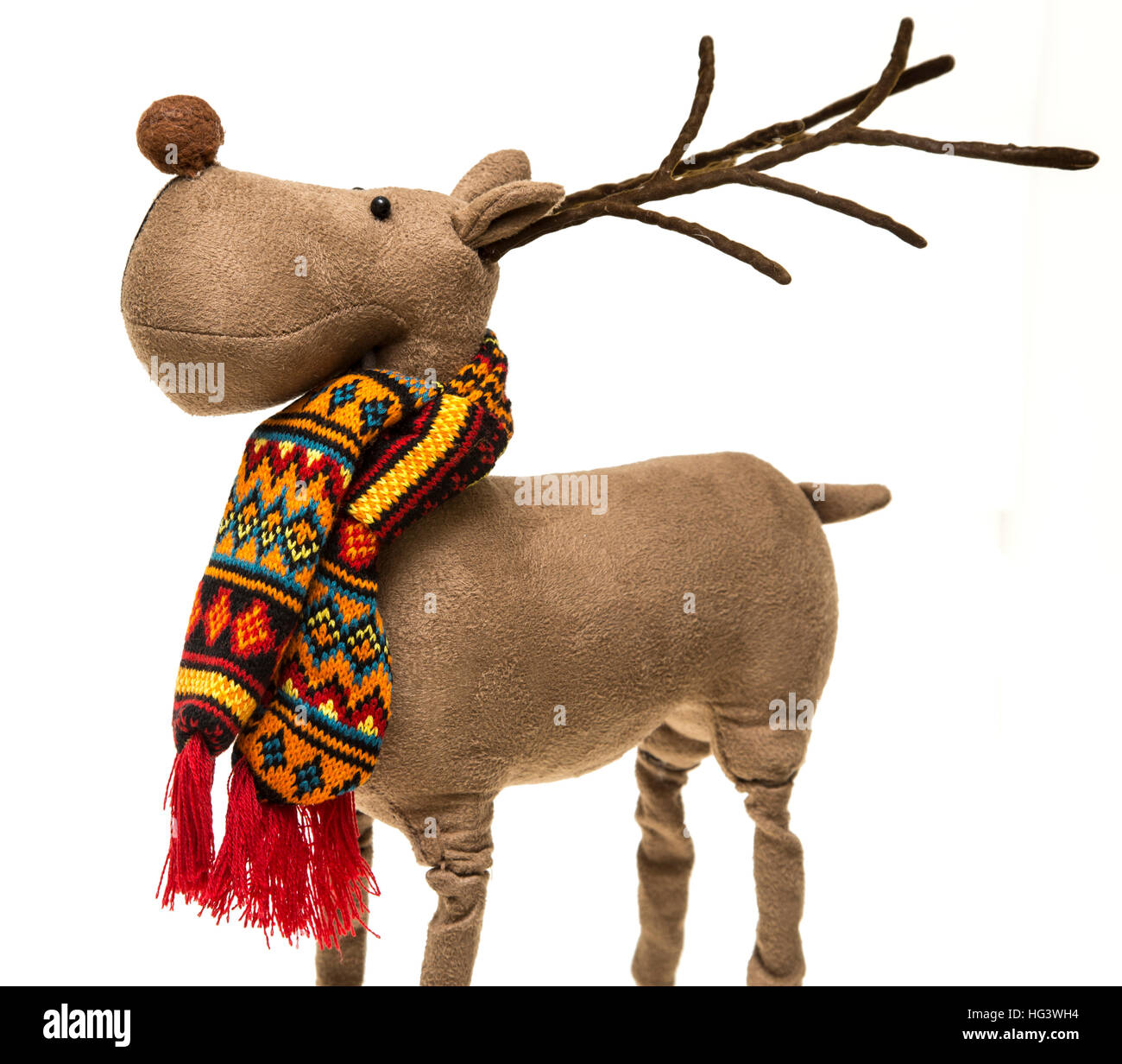 a christmas decoration of rudolph the red nosed reindeer wearing a colourful scarf on - Rudolph The Red Nosed Reindeer Christmas Decorations