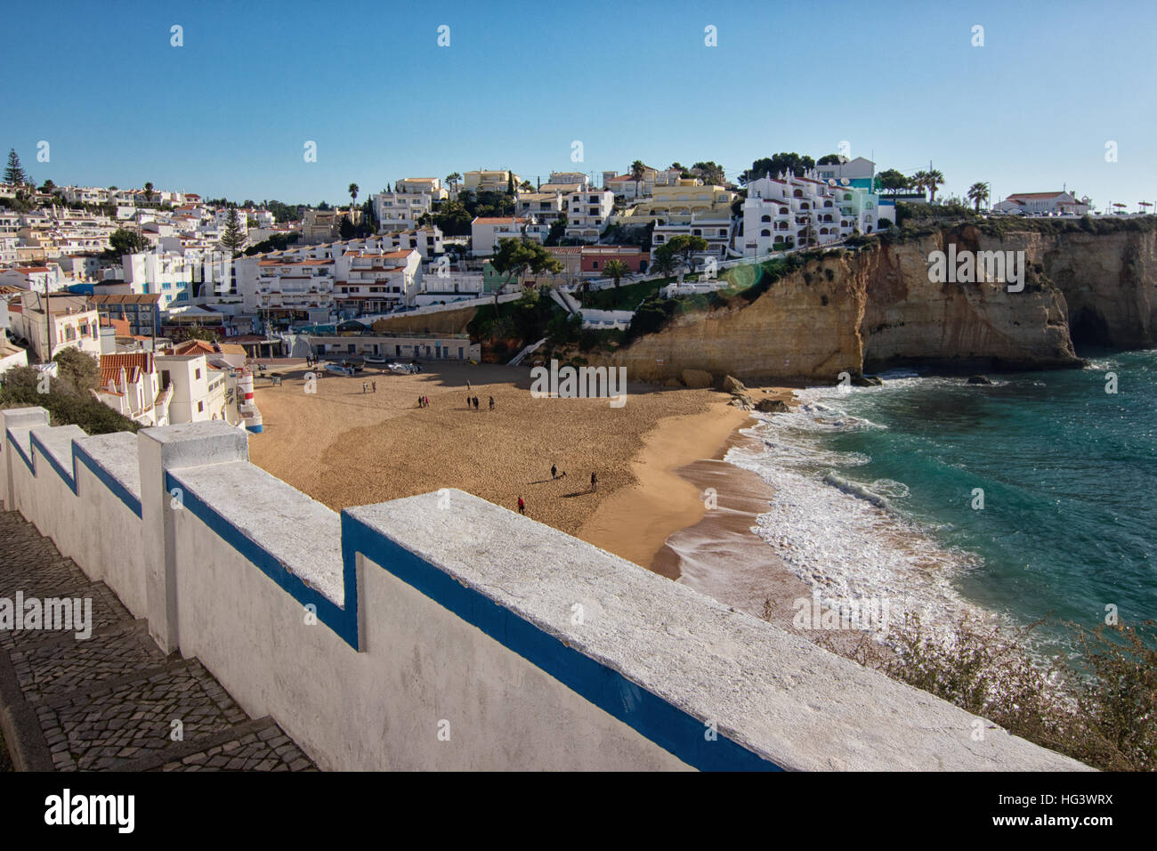 View of Monte Carvoeiro, Lagoa, Algarve Portugal, beach and city Stock Photo