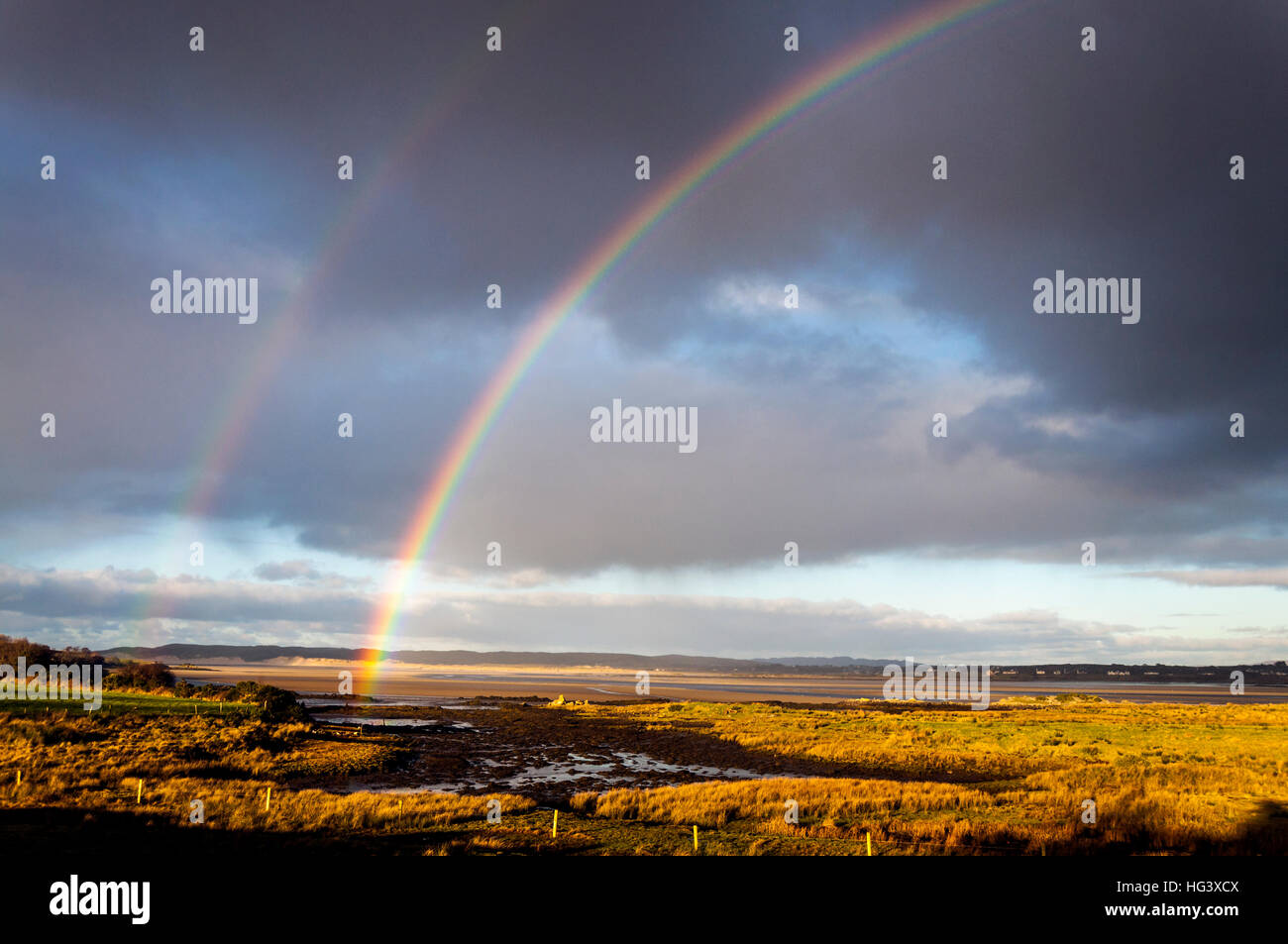 Donegal rainbow in landscape on Wild Atlantic Way - Stock Image