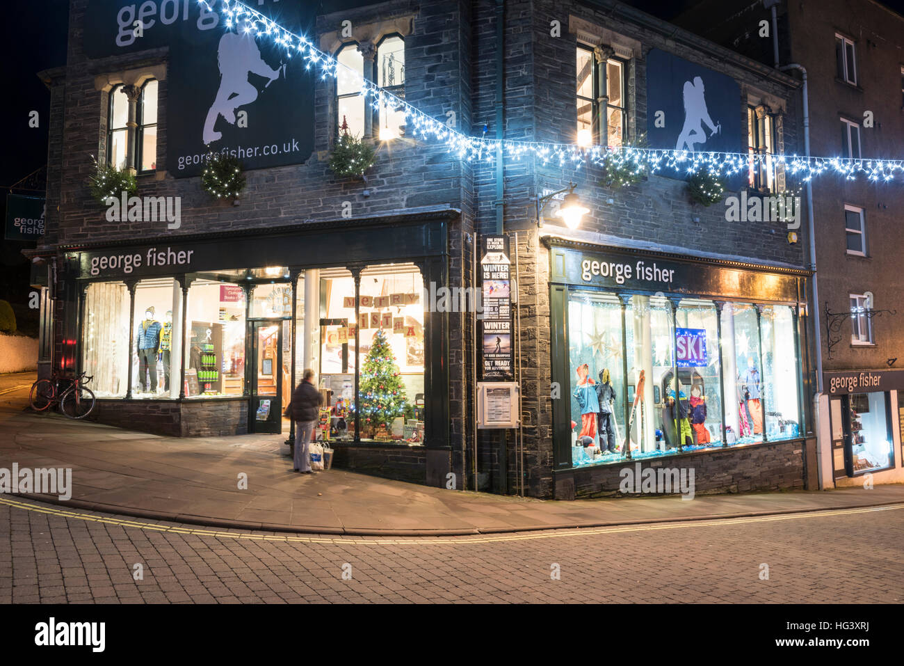 The george fisher outdoor clothing shop and christmas lights and the george fisher outdoor clothing shop and christmas lights and street decorations in keswick the lake district cumbria uk mozeypictures Image collections