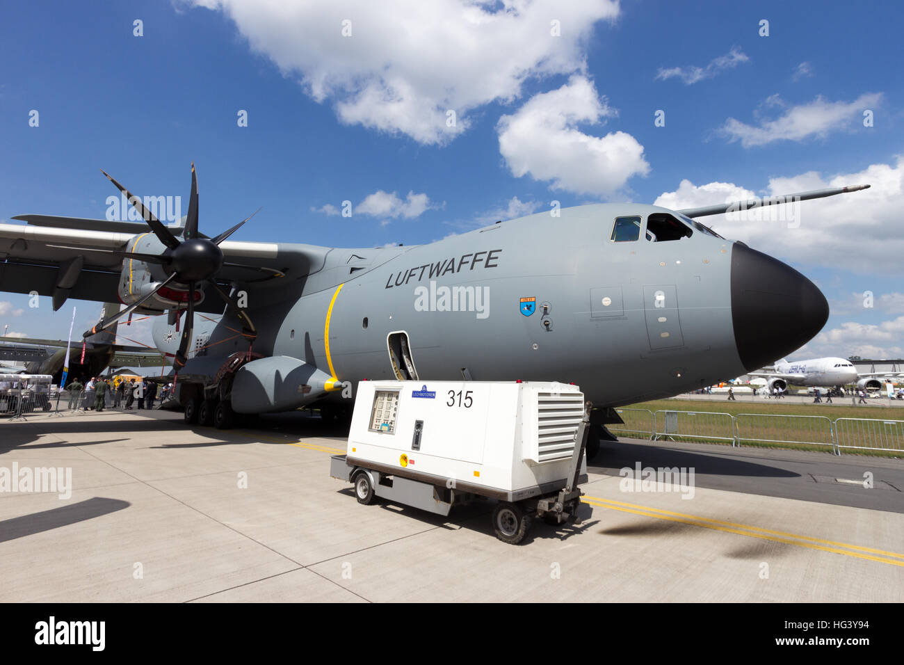 German air force Airbus A400M transport plane on display at the ILA airshow at Berlin Schoneveld airport. - Stock Image