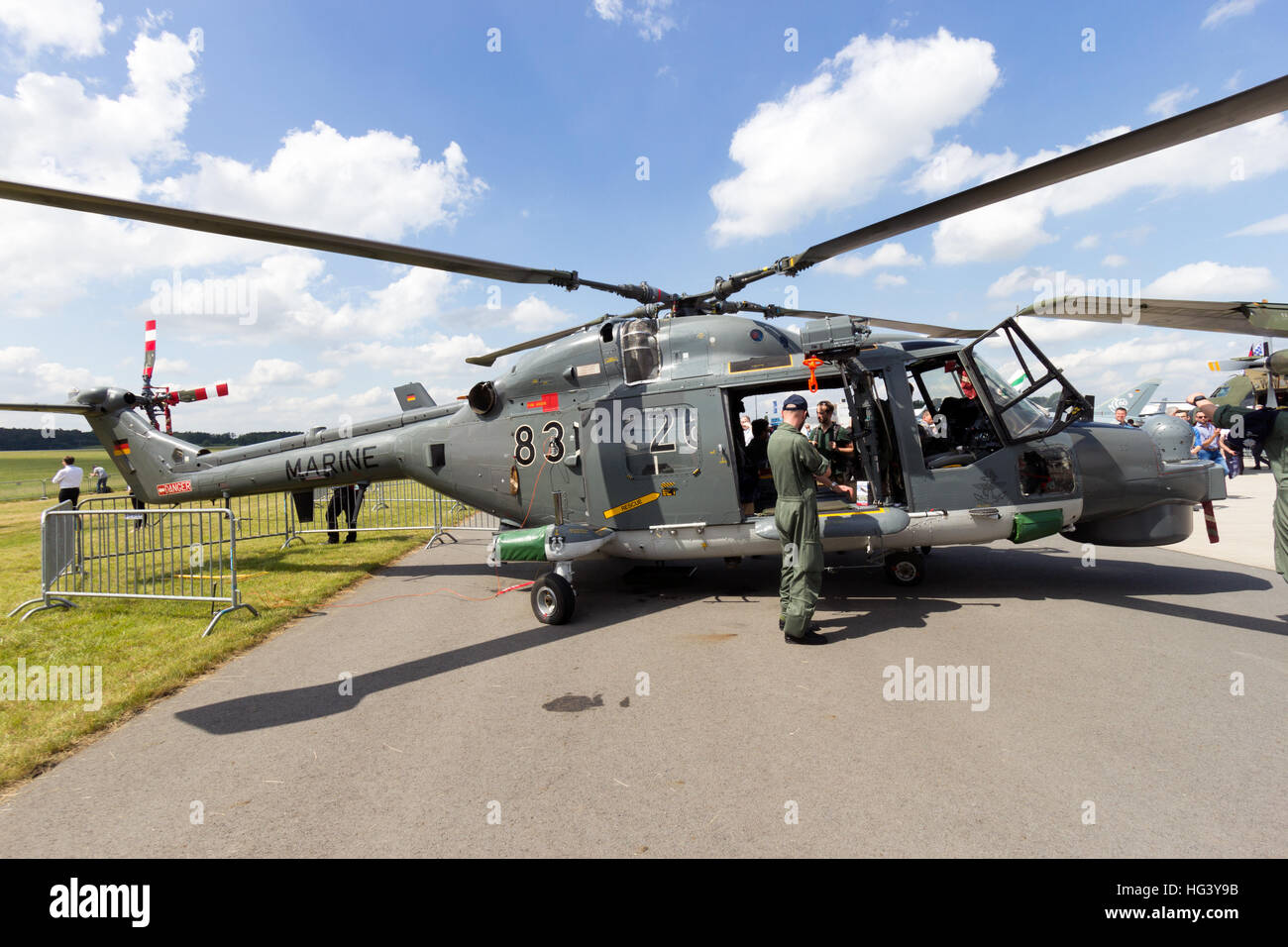 German Navy Westland Super Lynx on display at the ILA airshow at Berlin Schoneveld airport. - Stock Image