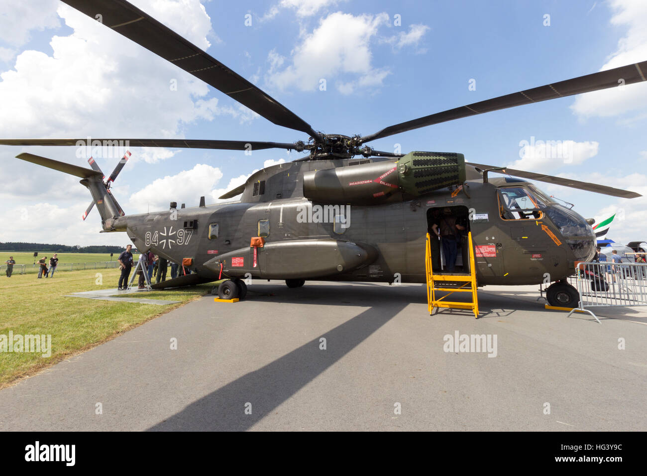 German army Sikorsky CH-53 Stallion transport helicopter on display at the ILA airshow at Berlin Schoneveld airport. - Stock Image