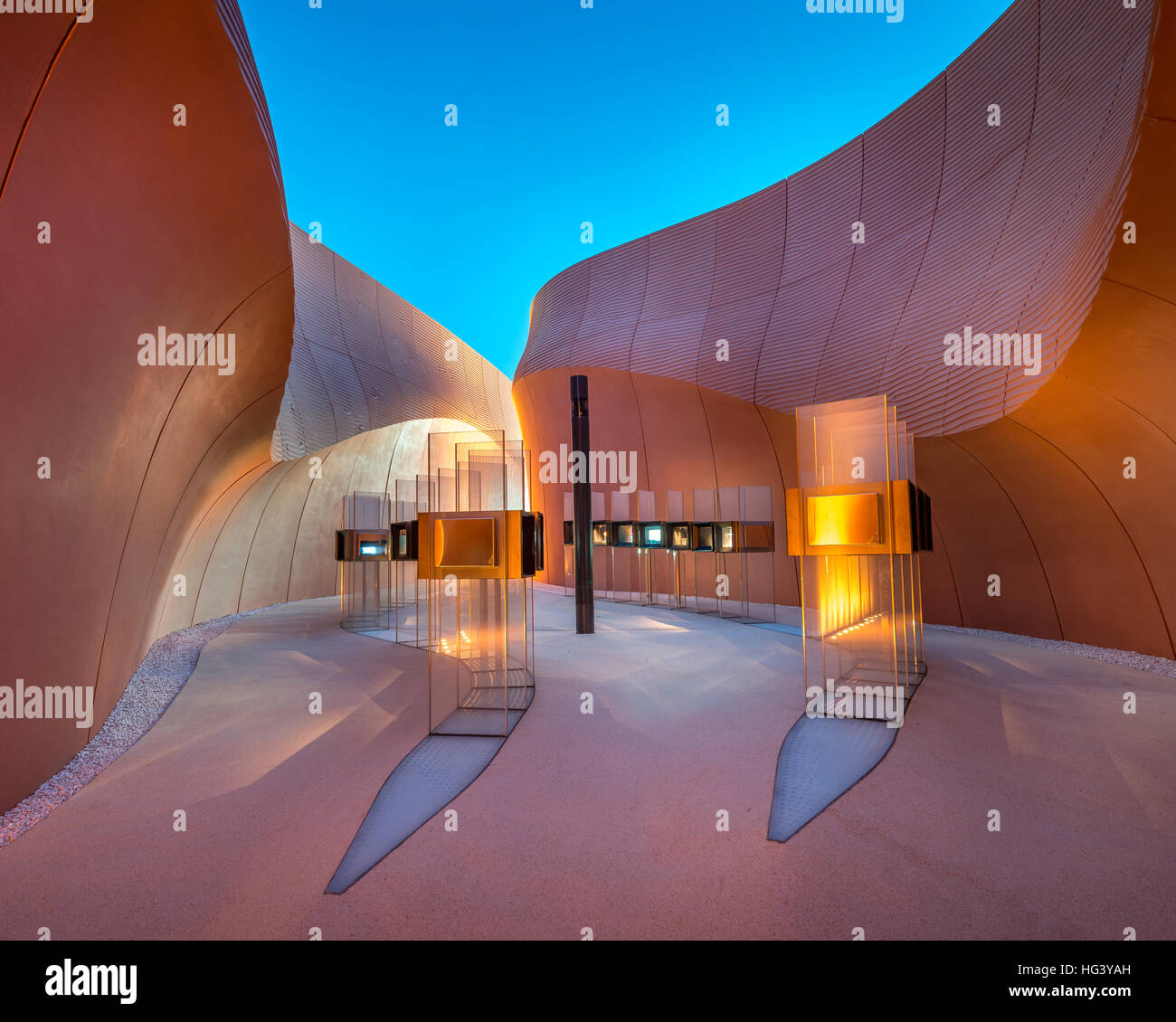 Entrance view of United Arab Emirates Pavilion at the Expo 2015 Milano, Italy by Foster + Partners. - Stock Image
