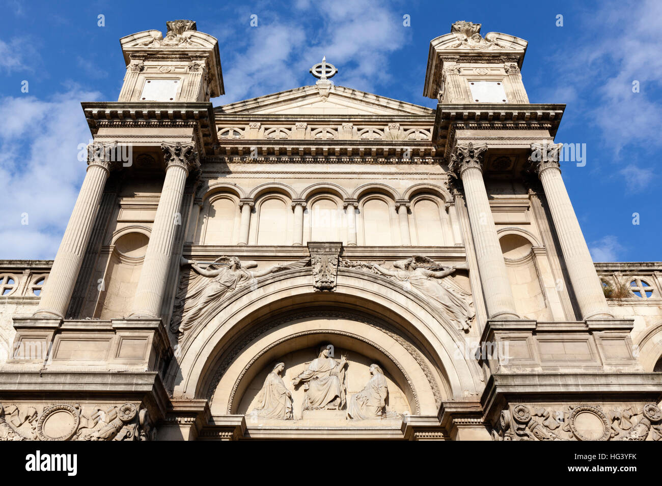 View from below of main facade of the La Madeleine church, Aix-en-Provence, France. - Stock Image
