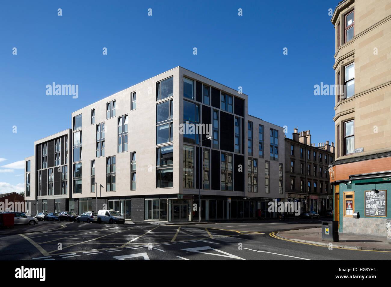Hyndland House Student Accommodation, Partick, Glasgow, Scotland, UK. Exterior view. - Stock Image