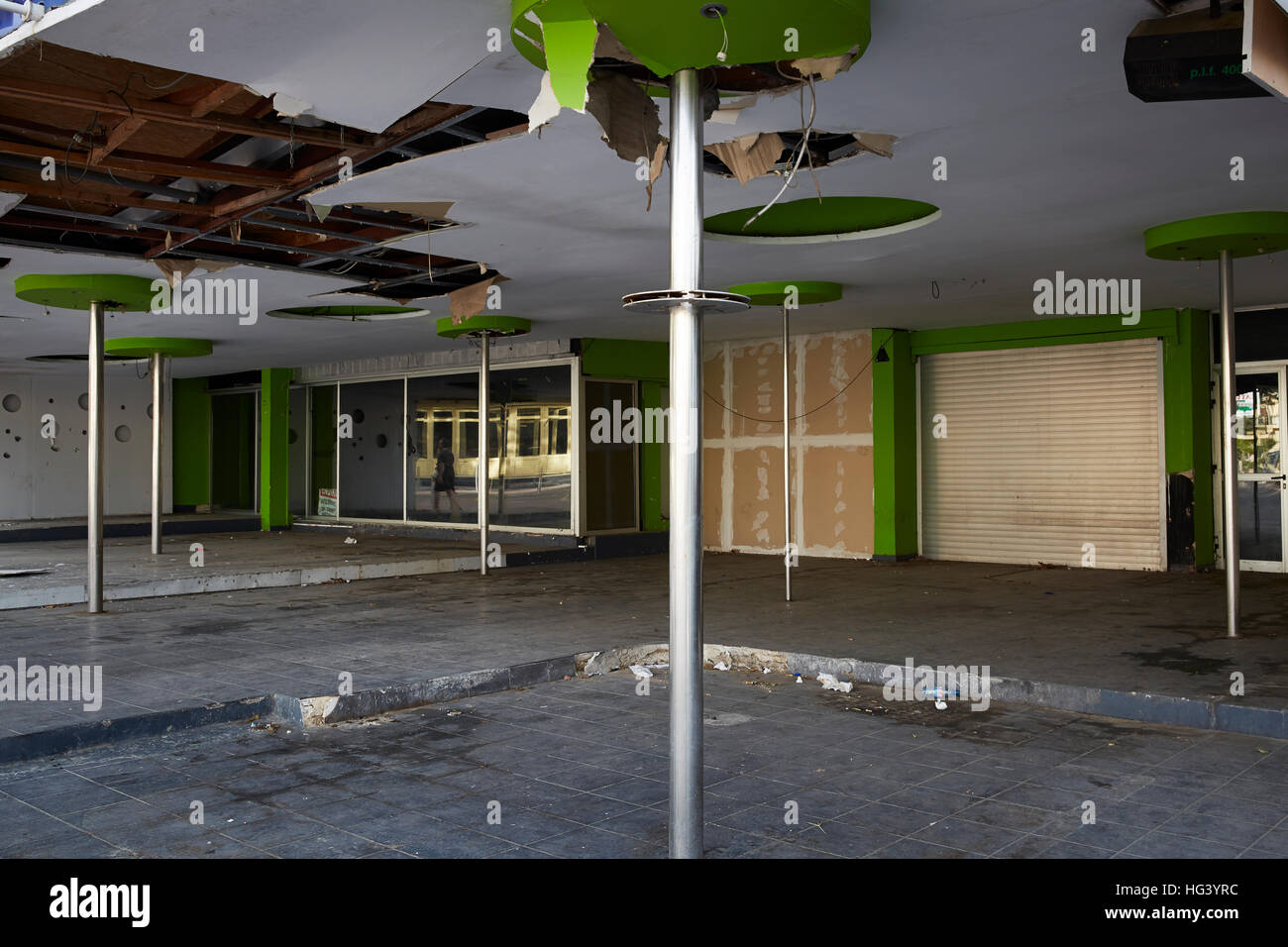Paphos, Cyprus. Interior view of a derelict building. - Stock Image