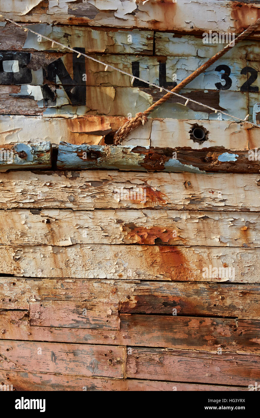 Paphos, Cyprus. Close up of old fishing boat. - Stock Image