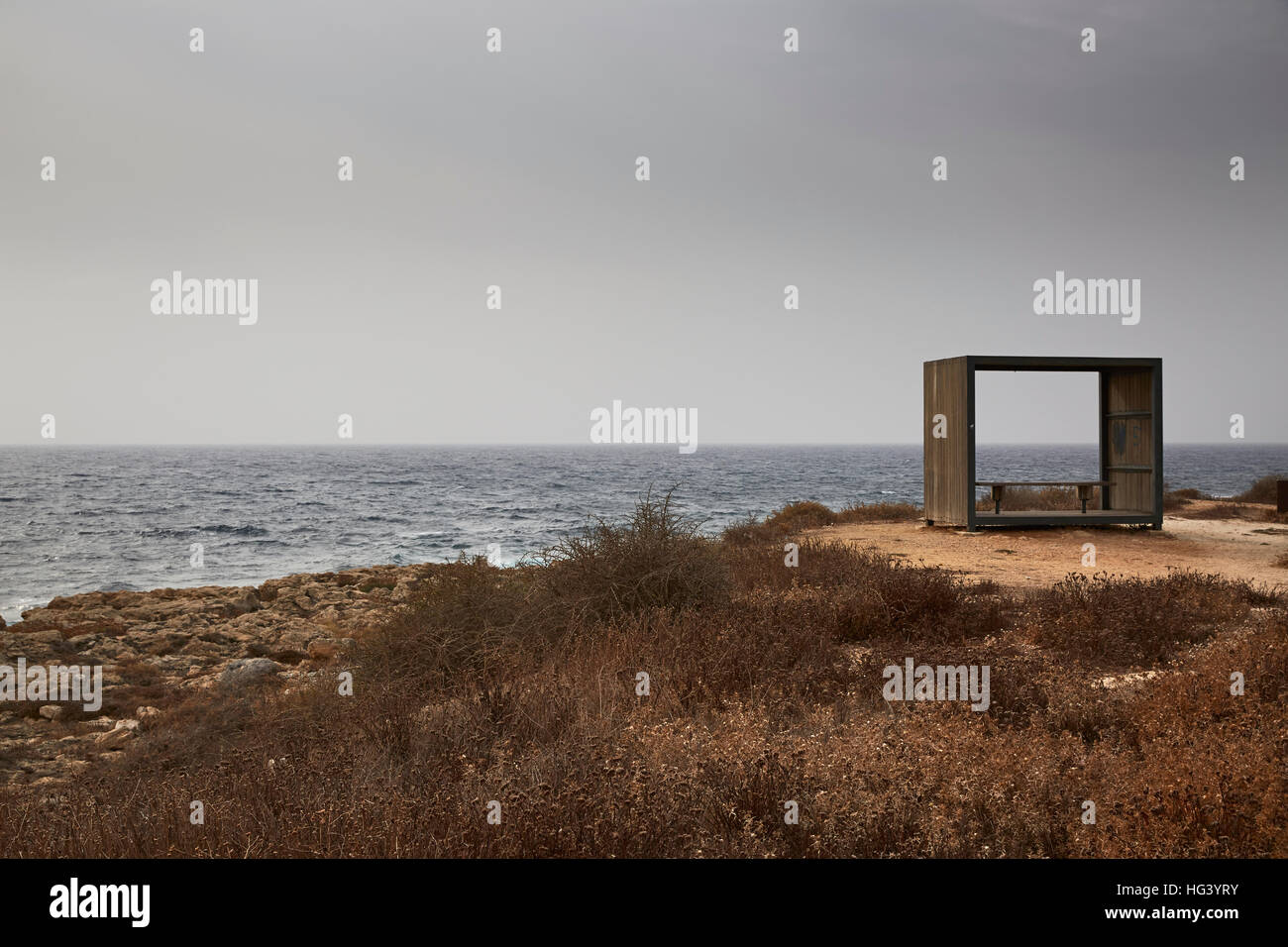 Paphos, Cyprus. Beach pavilion by the ocean. - Stock Image