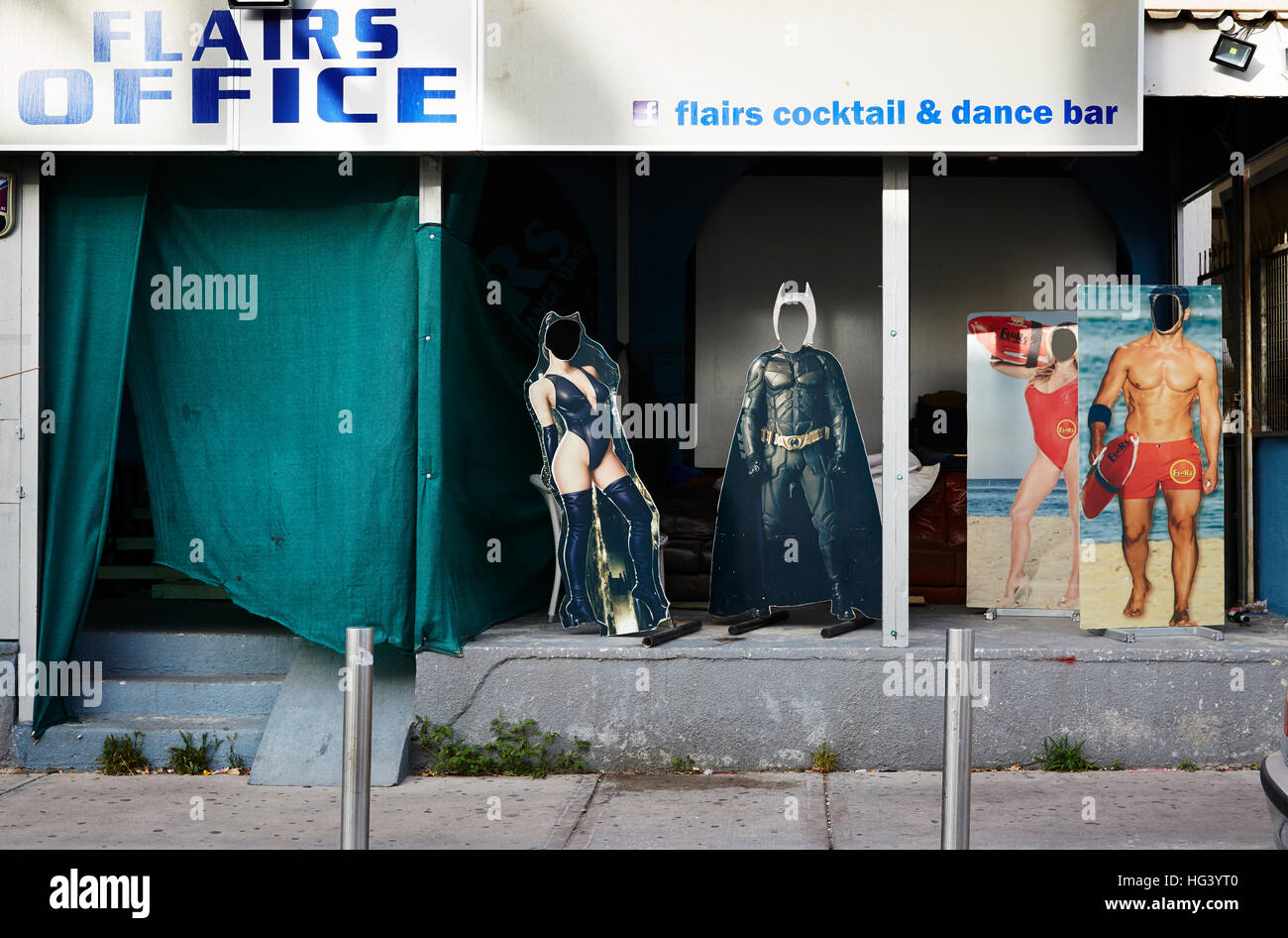 Paphos, Cyprus. Front of a cocktail and dance bar with cardboard cut outs. - Stock Image