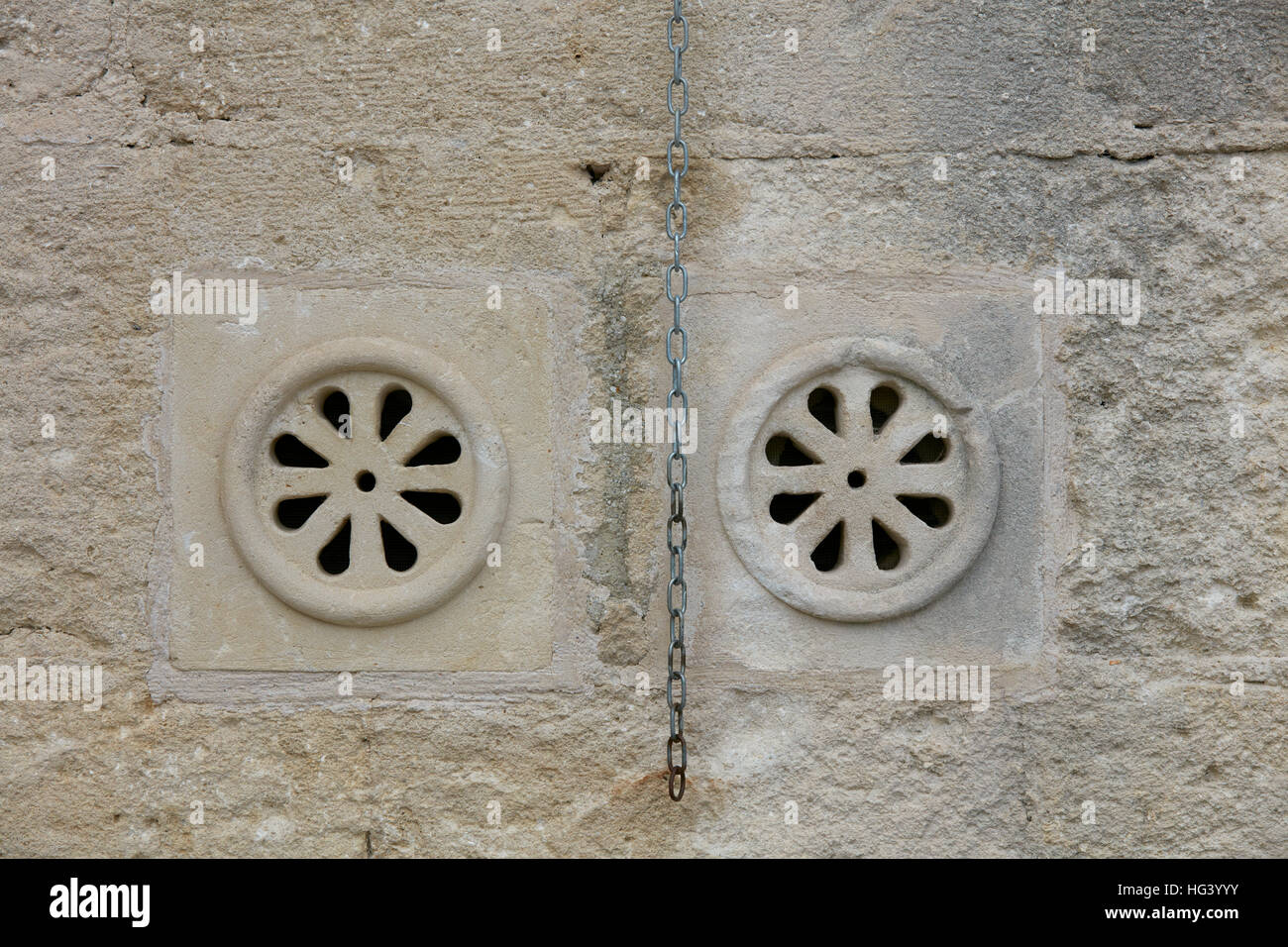 Architectural detail, Matera, Italy. Close up of a vent. - Stock Image