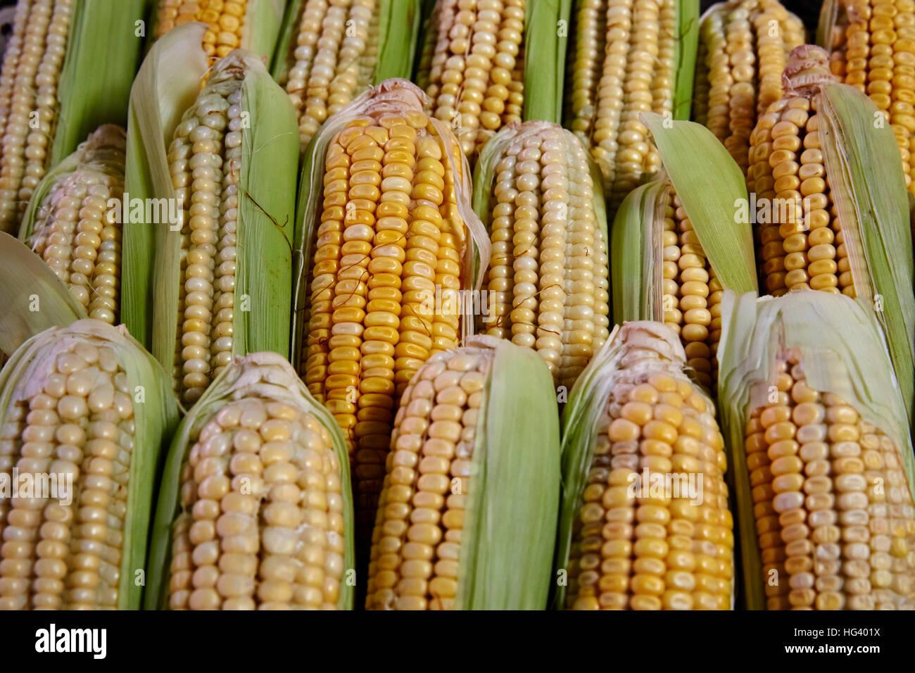 Flacq Market, Mauritius. Market Stall. Close up of fresh produce. - Stock Image